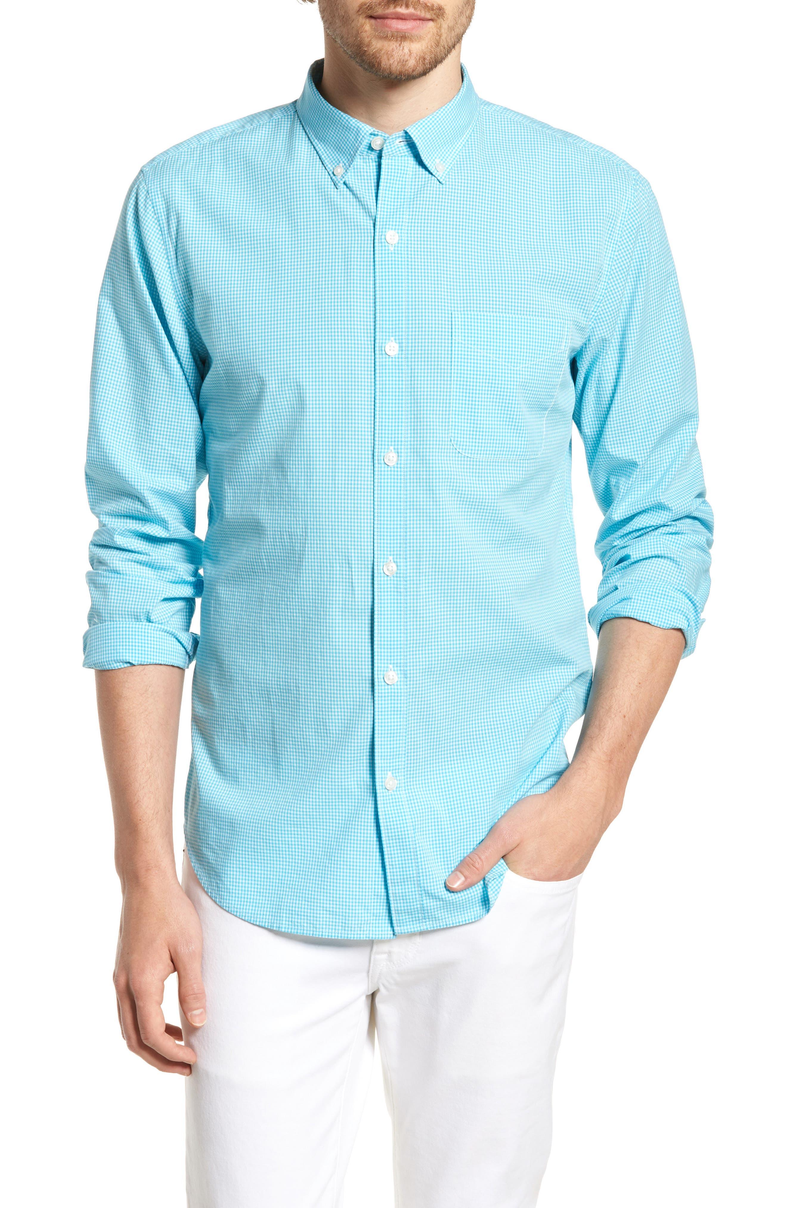 Slim Fit Summerweight Check Sport Shirt,                         Main,                         color, Bondi Gingham - Scuba Blue
