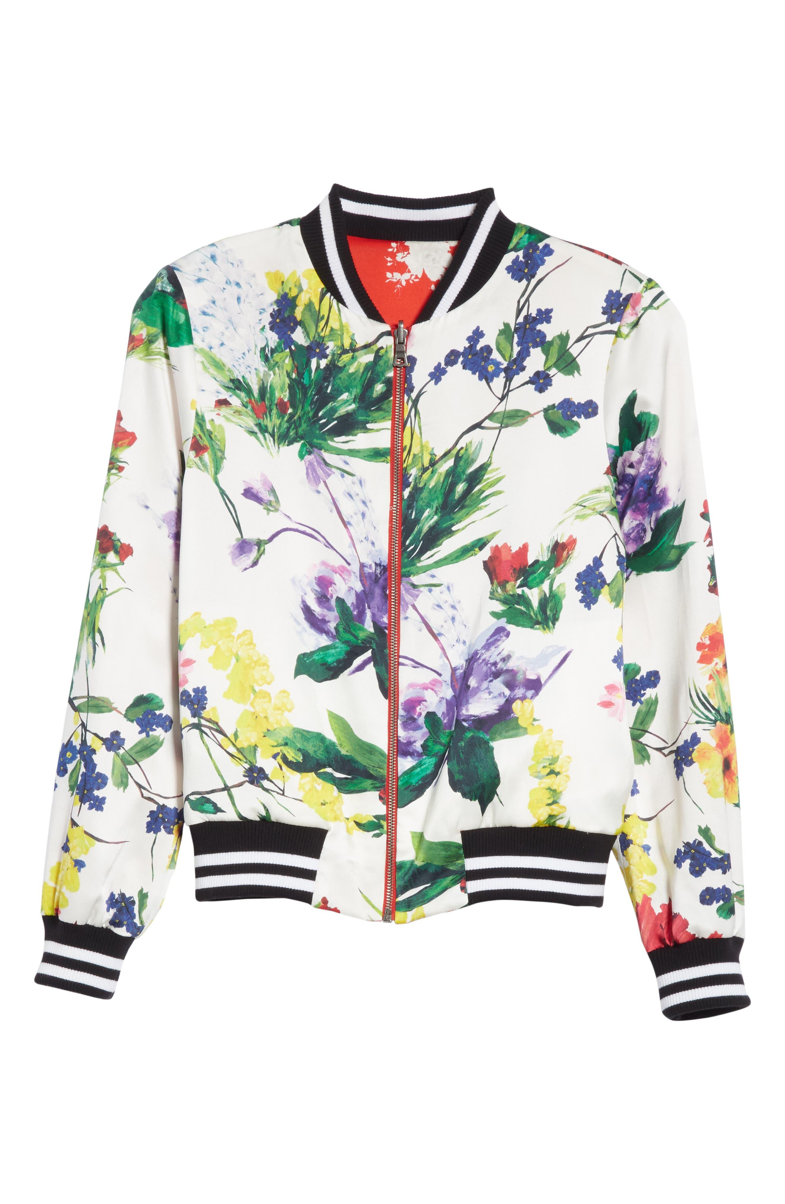 Lonnie Reversible Silk Bomber Jacket,                             Alternate thumbnail 6, color,                             Floral Damask/ Wildflower