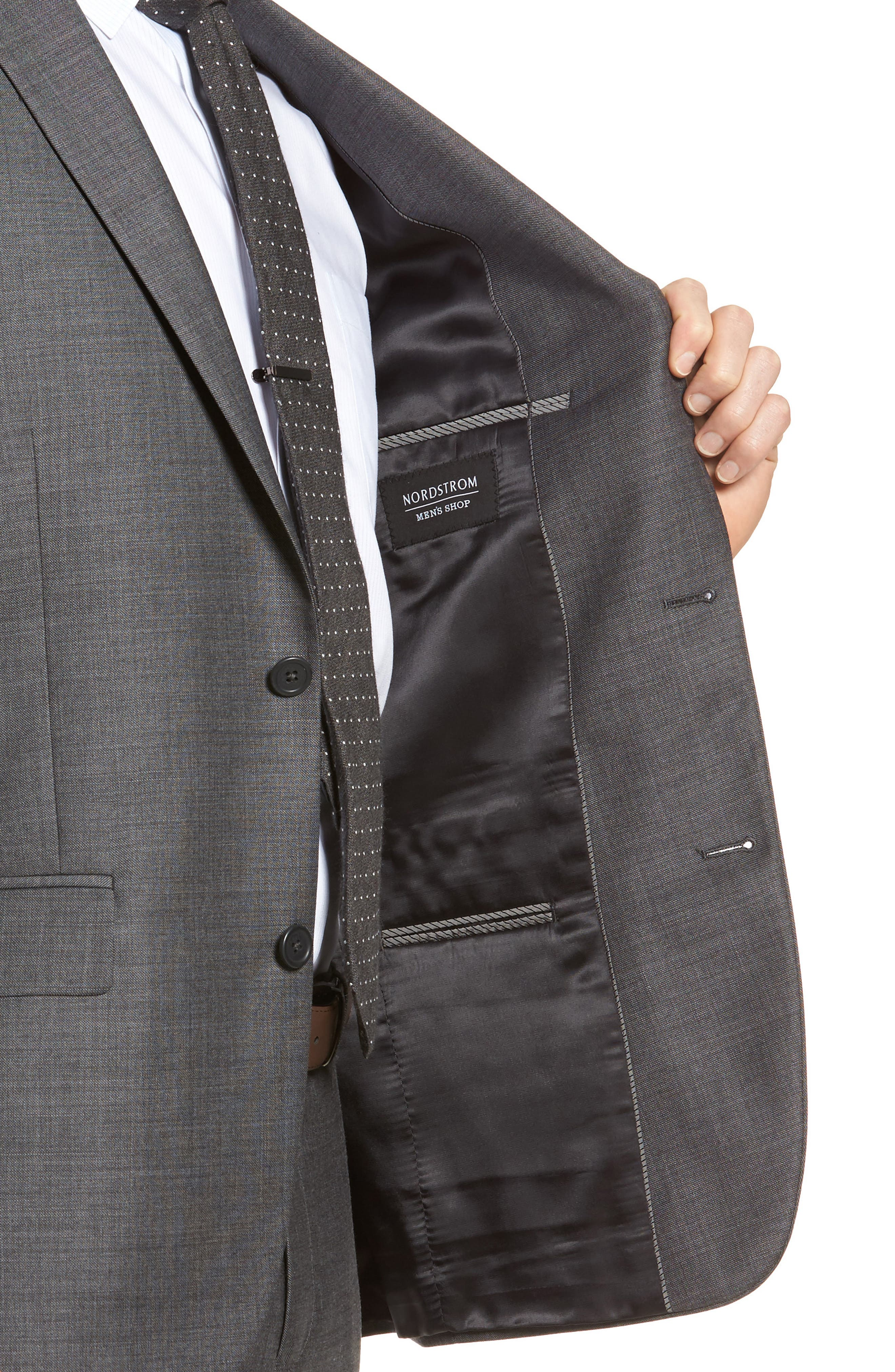 Trim Fit Sharkskin Wool Suit,                             Alternate thumbnail 4, color,                             Mid Char