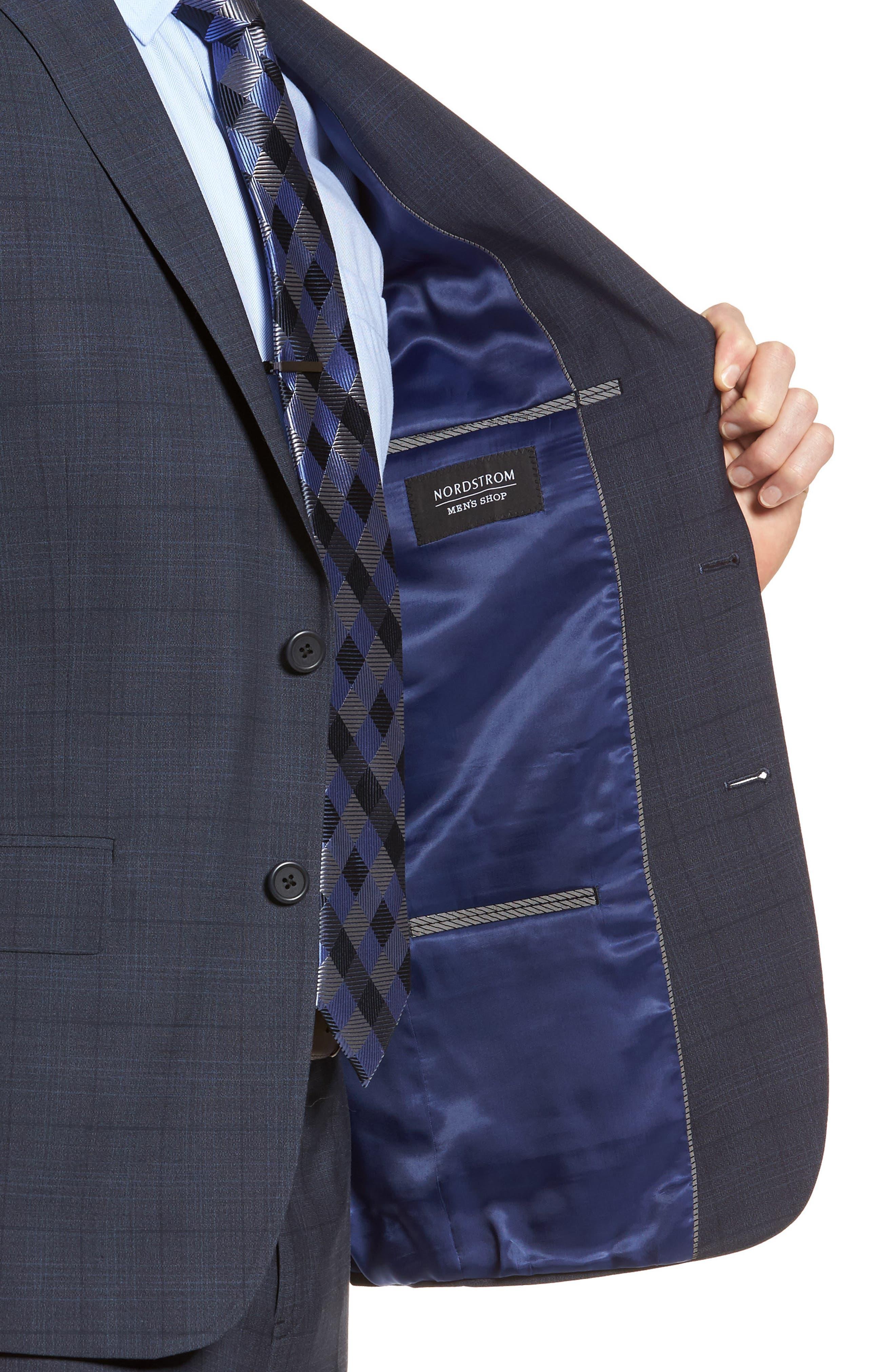 Extra Trim Fit Plaid Wool Suit,                             Alternate thumbnail 4, color,                             Navy Blue