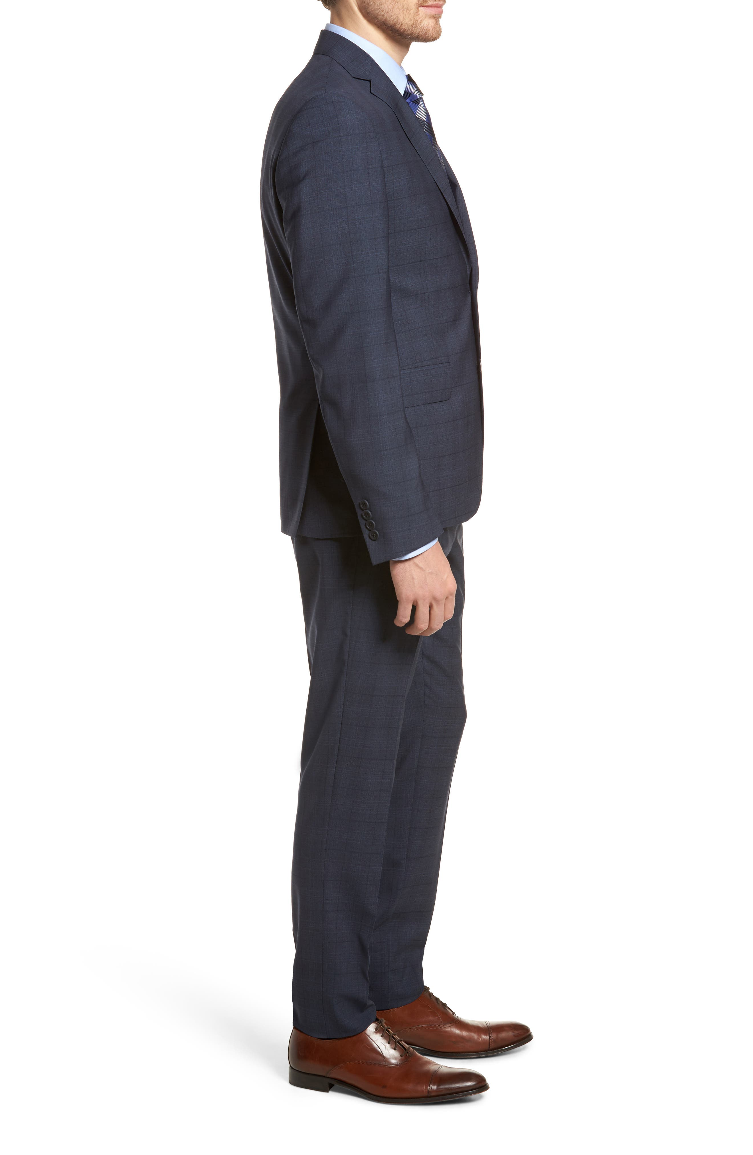 Extra Trim Fit Plaid Wool Suit,                             Alternate thumbnail 3, color,                             Navy Blue