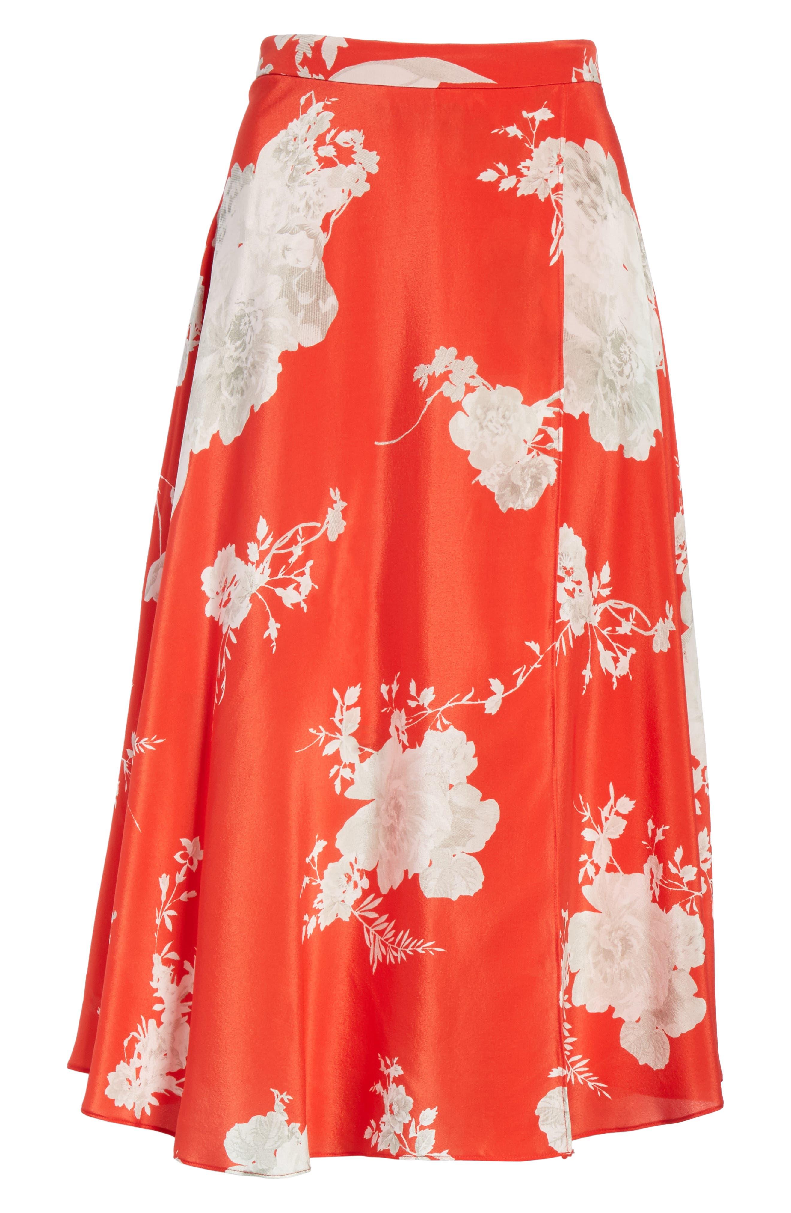 Nanette Faux Wrap Floral Silk Skirt,                             Alternate thumbnail 7, color,                             Damask Rose- Poppy