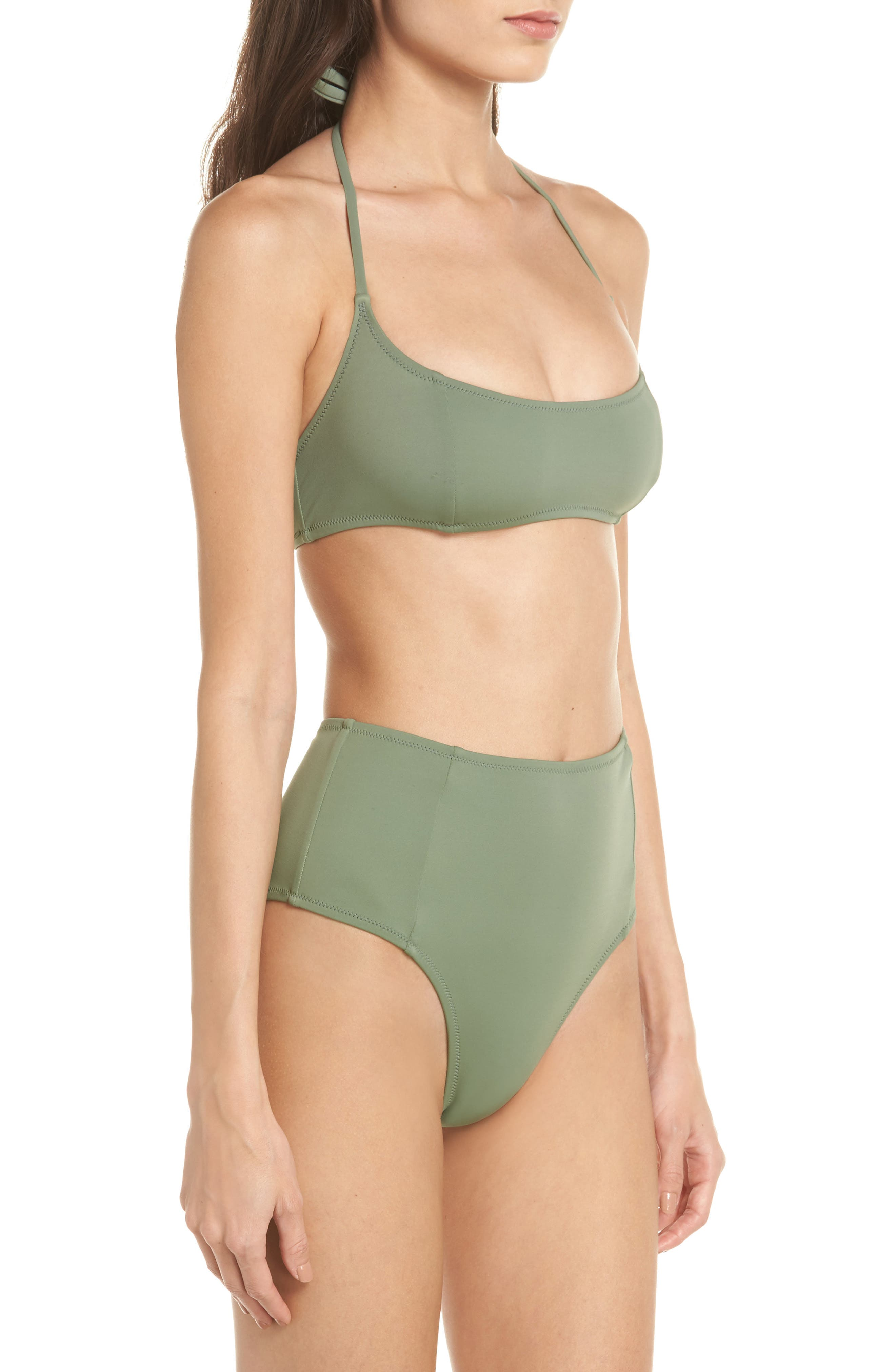 The Jessica High Waist Bikini Bottoms,                             Alternate thumbnail 7, color,                             Green