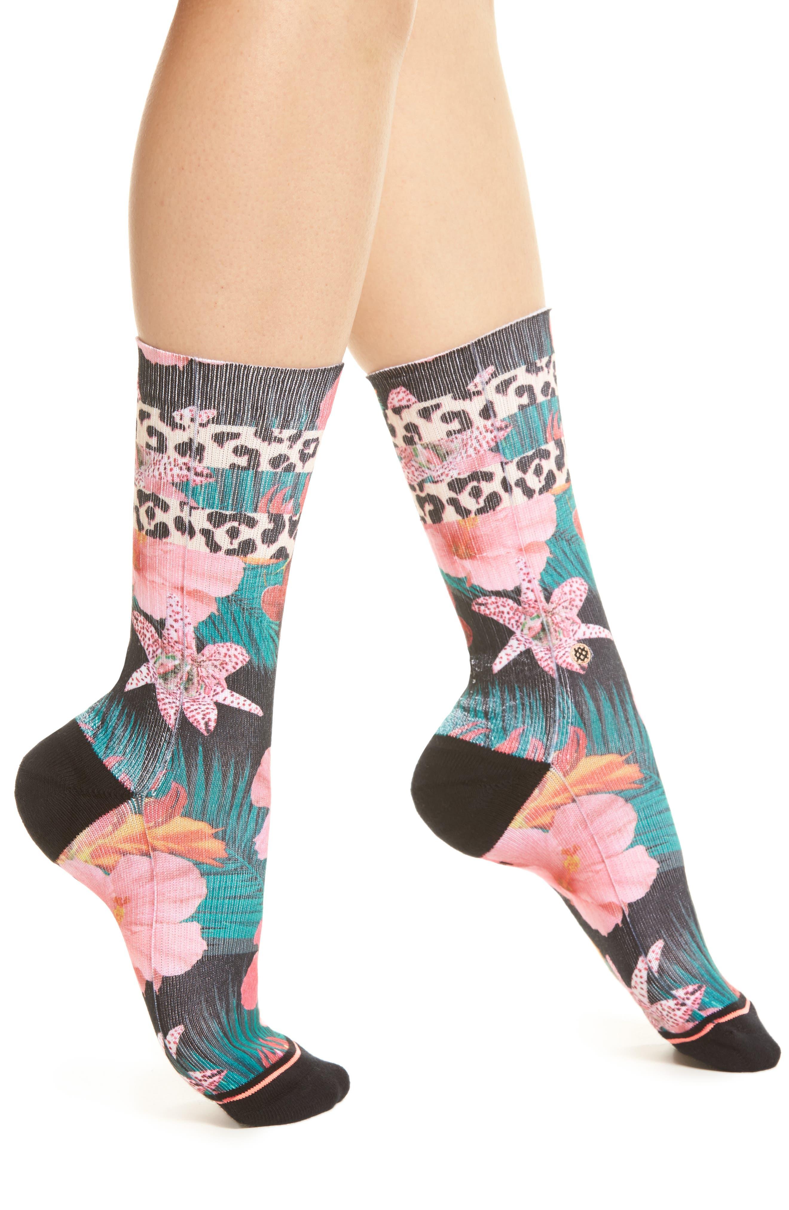 El Hibisco Crew Socks,                         Main,                         color, Black
