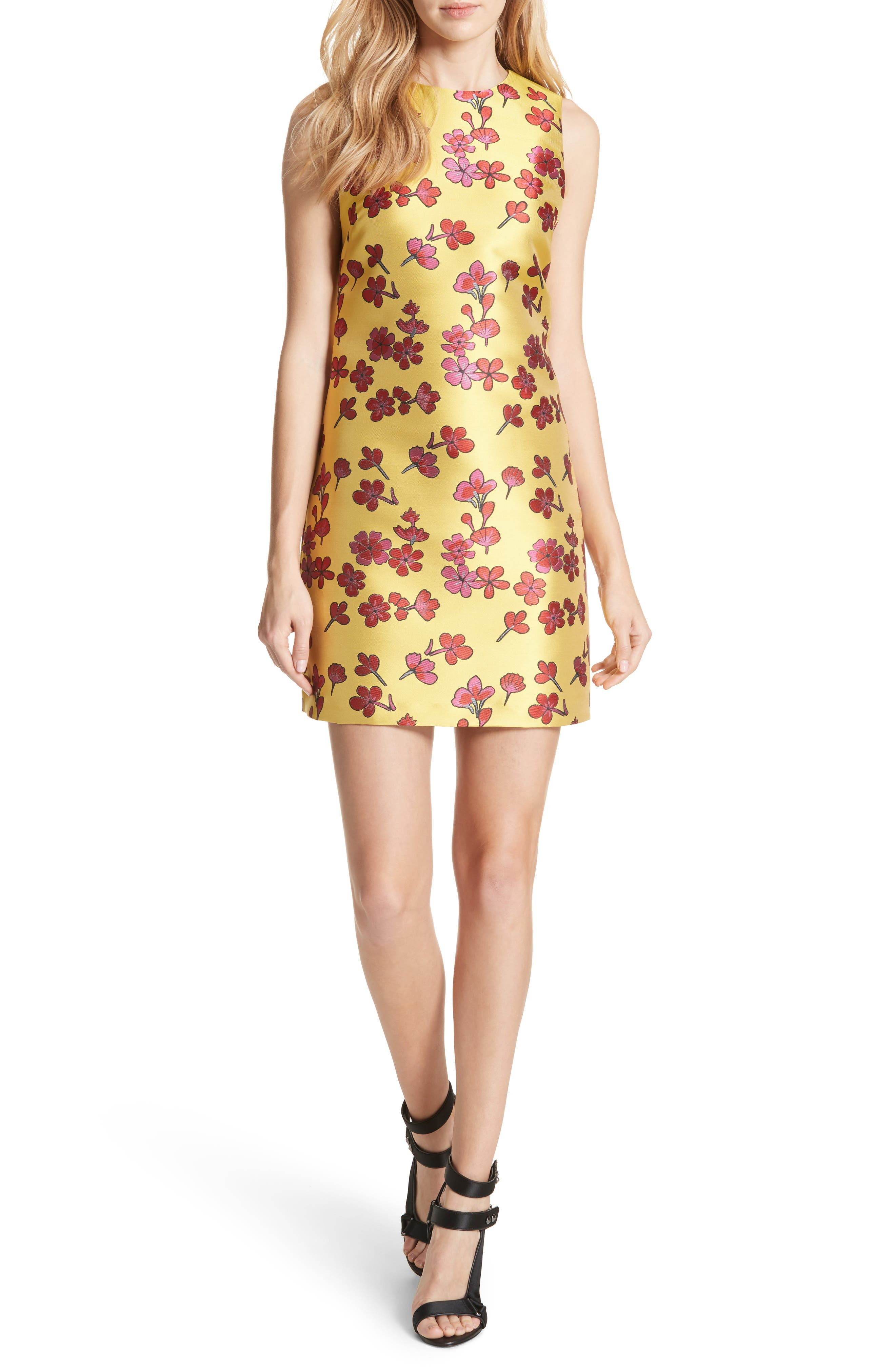 Coley Floral A-Line Shift Dress,                             Main thumbnail 1, color,                             Sunflower/ Poppy
