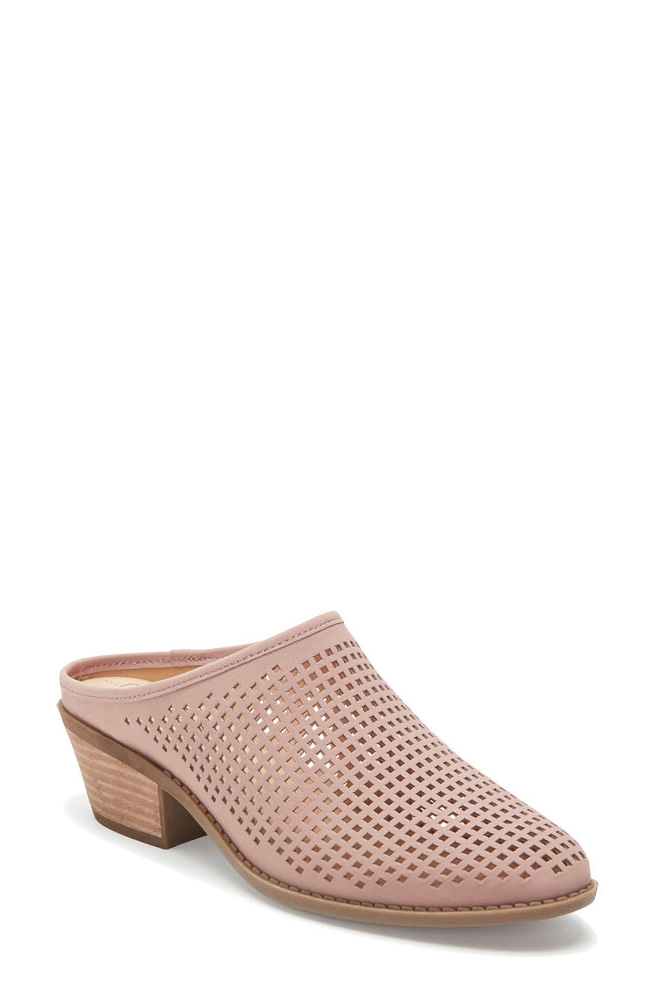 Zara Block Heel Mule,                         Main,                         color, Rose Nubuck