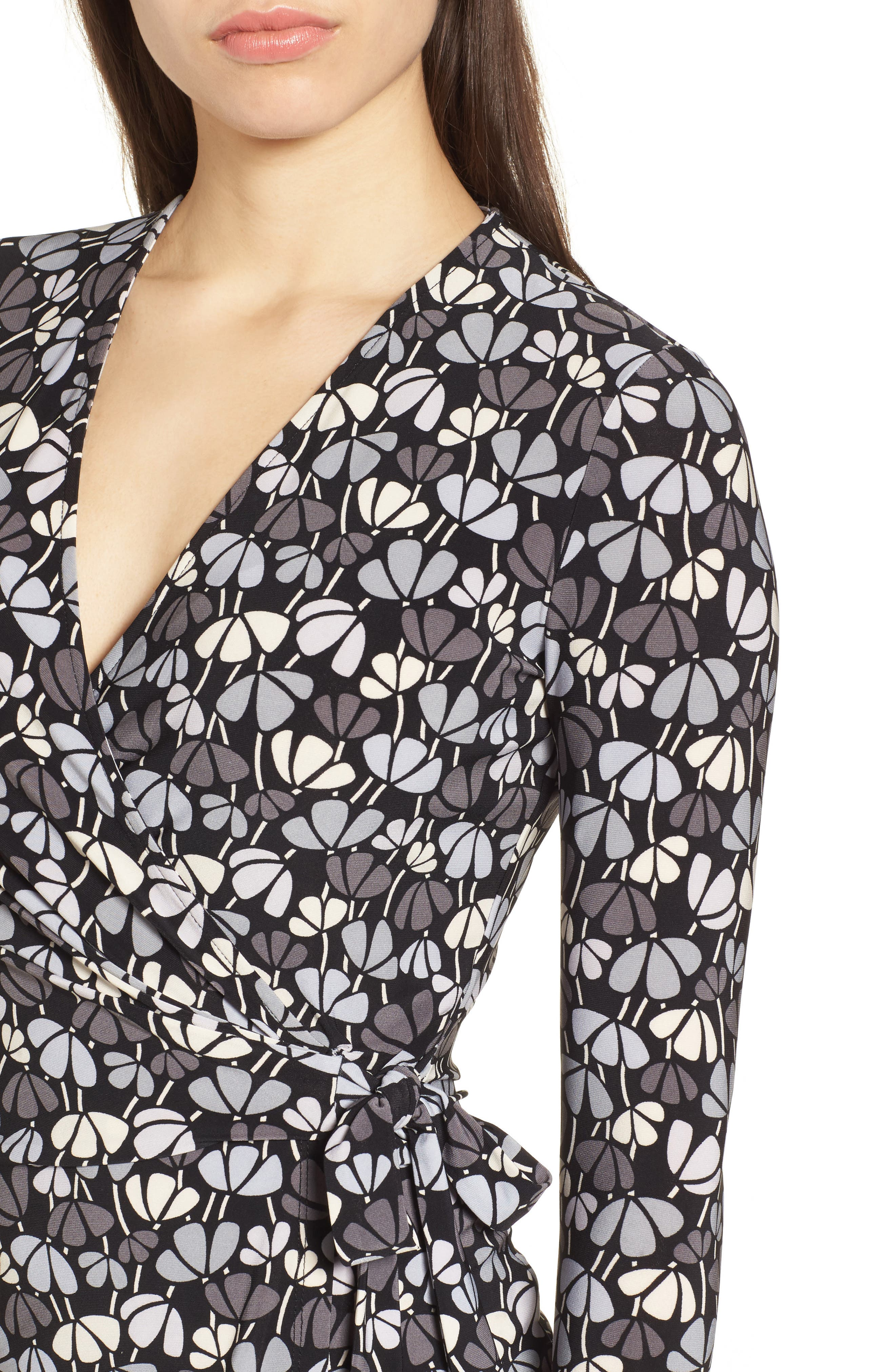 Flowerfall Faux Wrap Dress,                             Alternate thumbnail 4, color,                             Black/ Summit Blue Combo