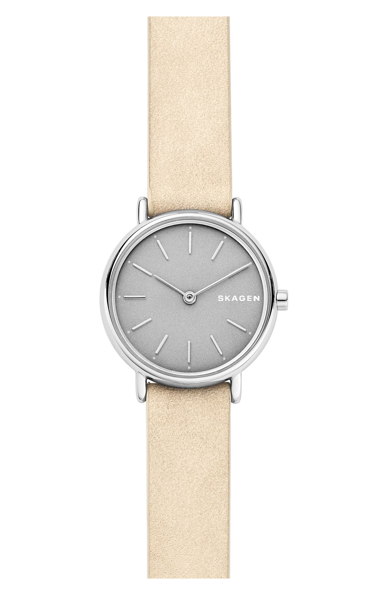 Signature Slim Leather Strap Watch, 30mm,                             Main thumbnail 1, color,                             Nude/ Grey/ Silver