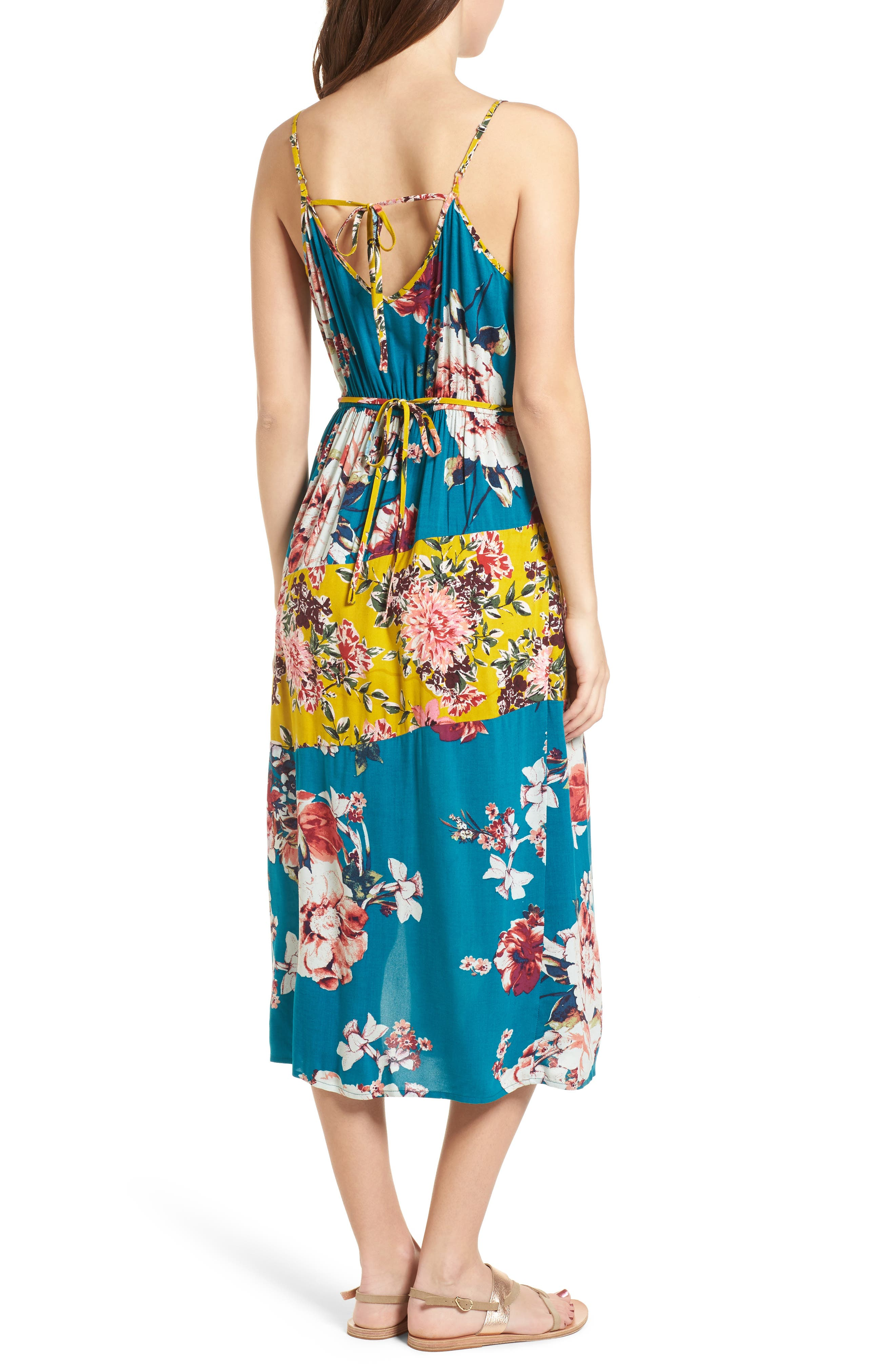 Mix Floral Midi Dress,                             Alternate thumbnail 2, color,                             Teal/ Peach