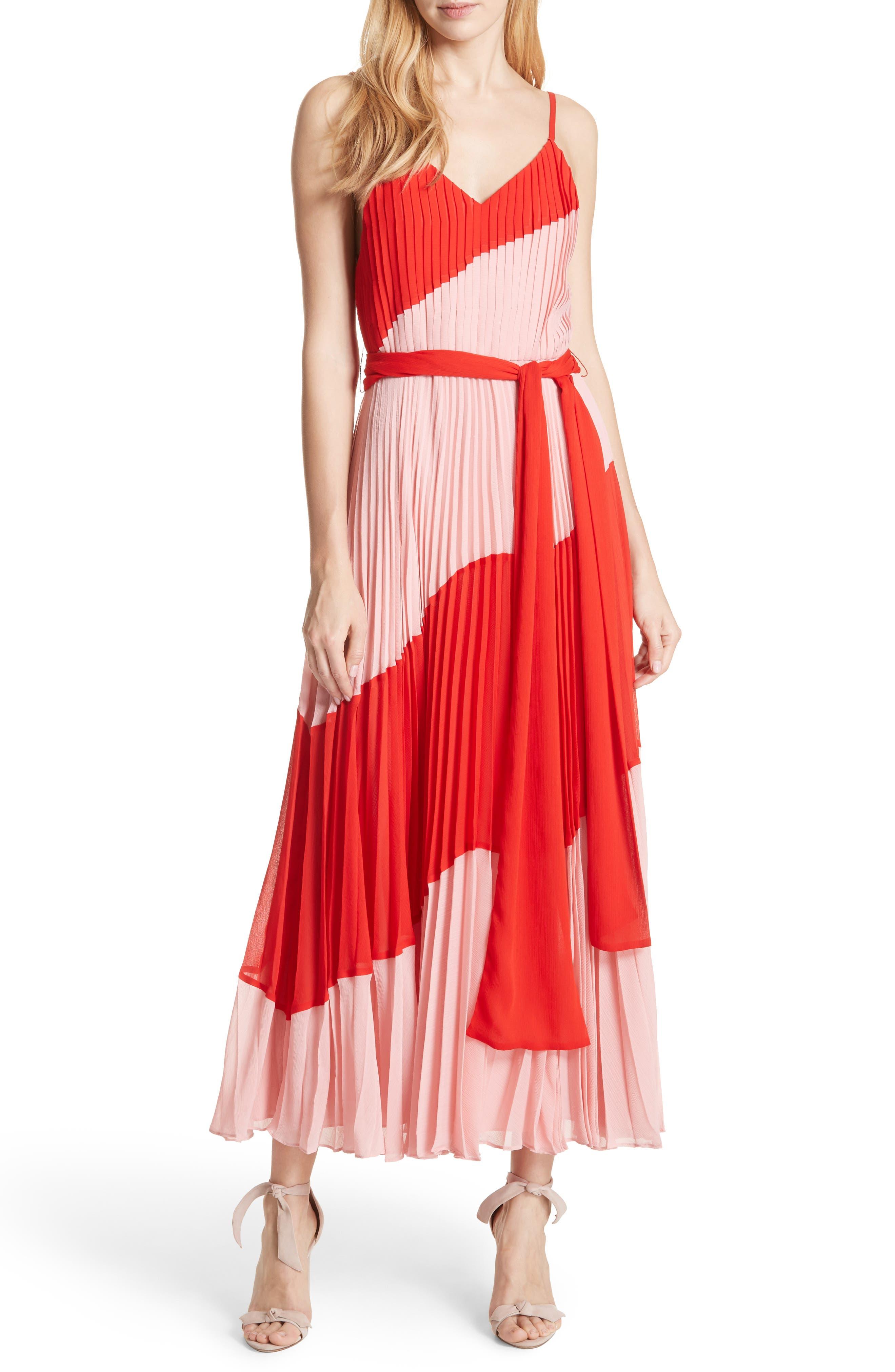 Rozlyn Pleat Colorblock Maxi Dress,                             Main thumbnail 1, color,                             Perfect Poppy/ Blossom