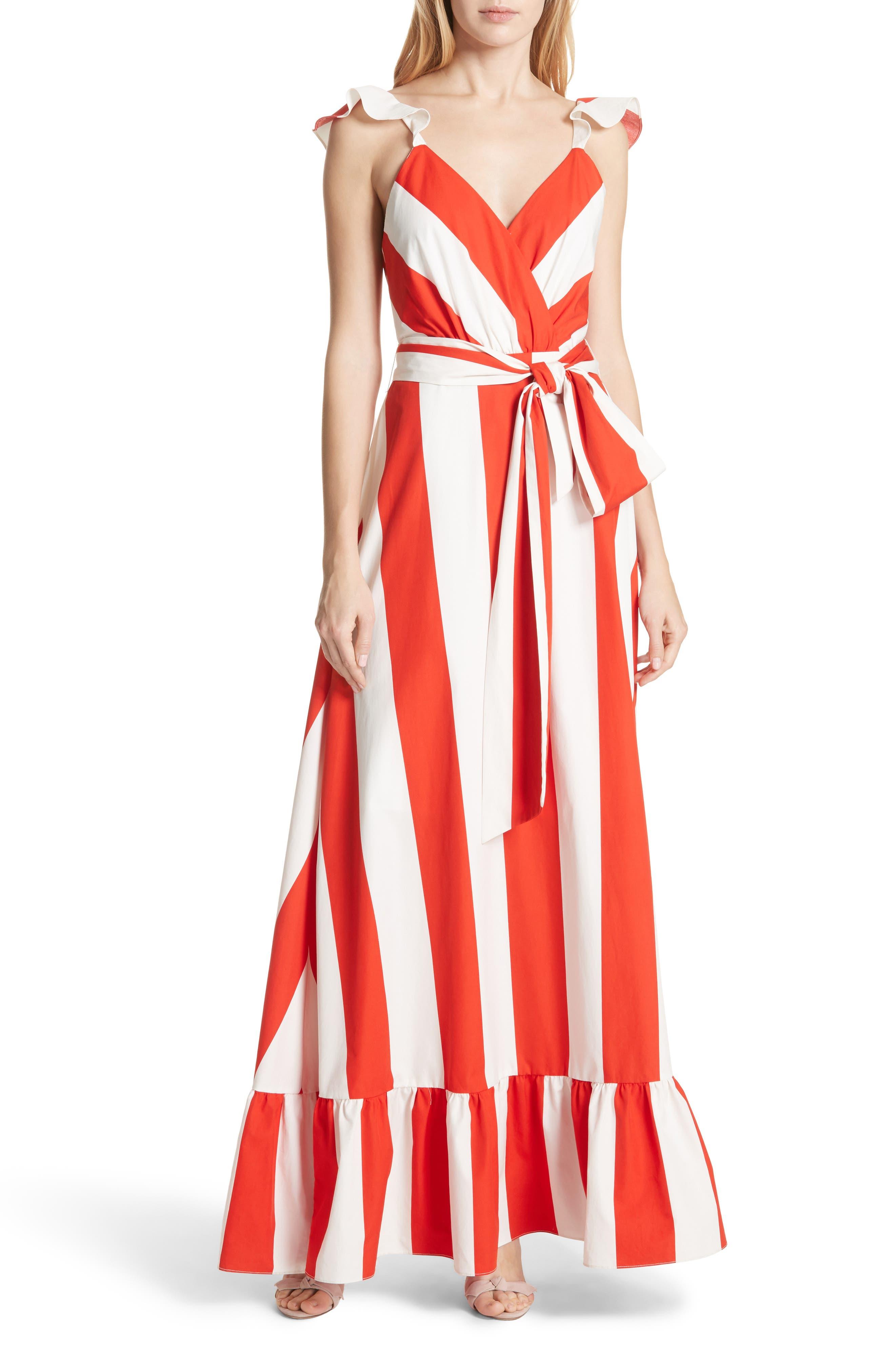 Fernanda Stripe Cotton Maxi Dress,                             Main thumbnail 1, color,                             Sixties Stripe- Poppy