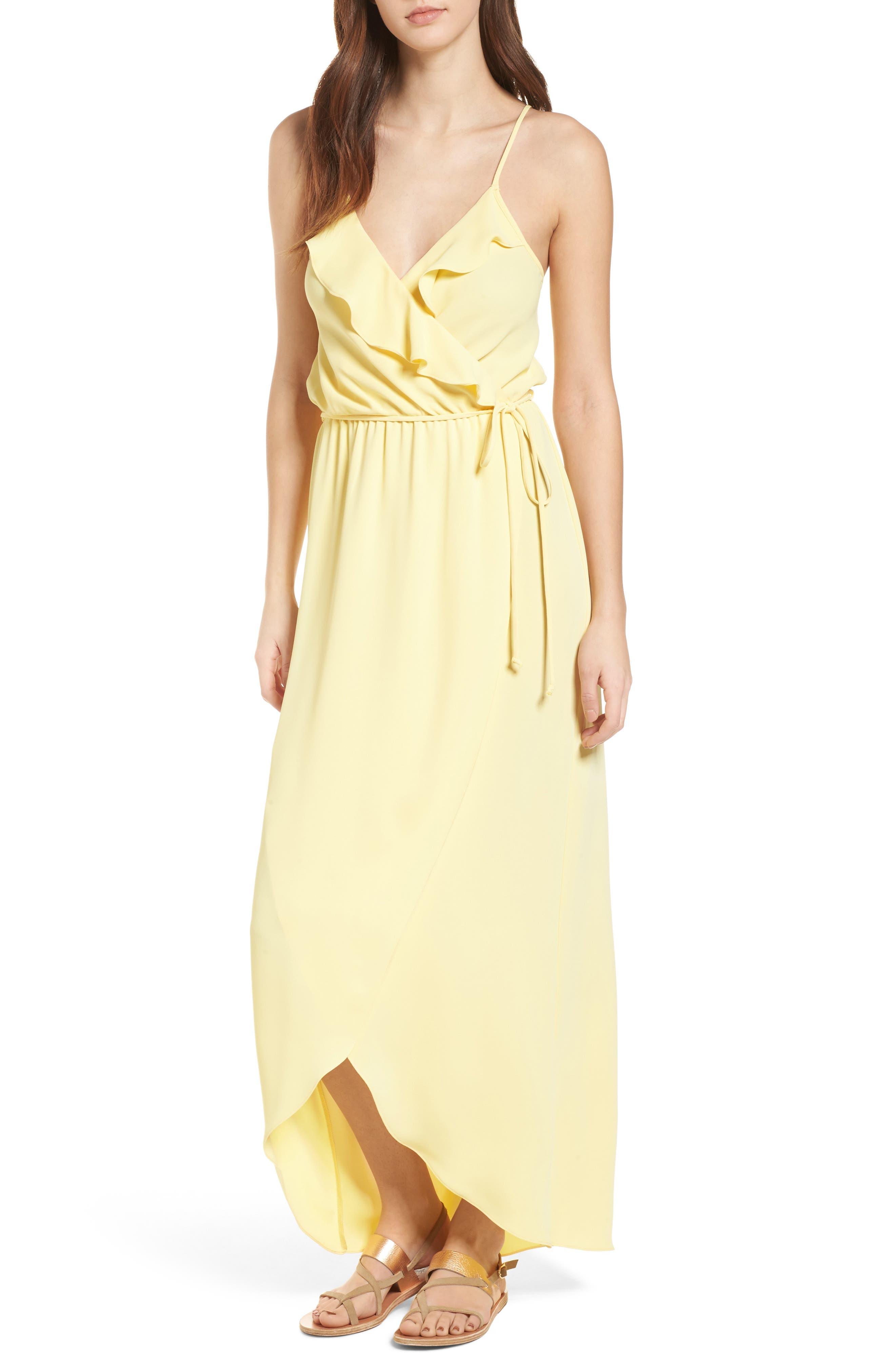 Ruffle Wrap Maxi Dress,                         Main,                         color, Yellow