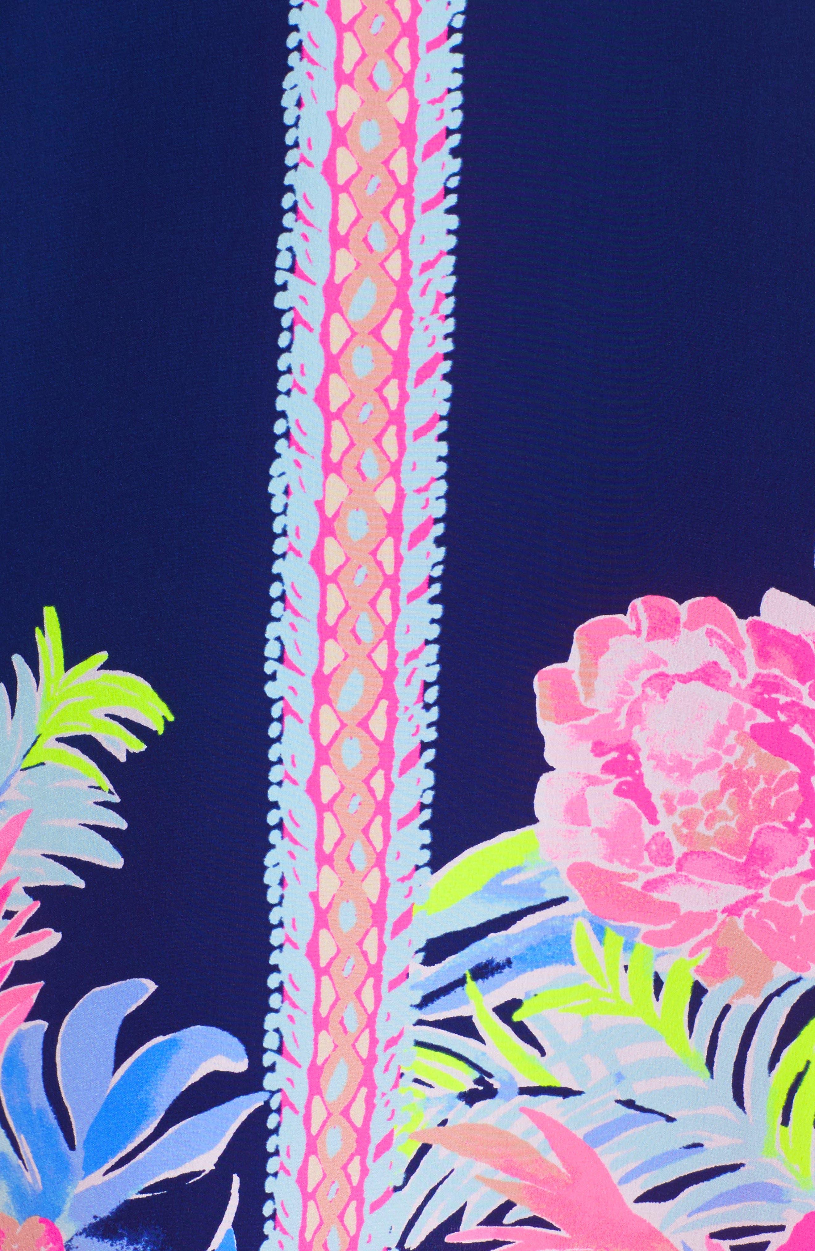 Rosalia Bell Sleeve Silk A-Line Dress,                             Alternate thumbnail 5, color,                             High Tide Tropicolada