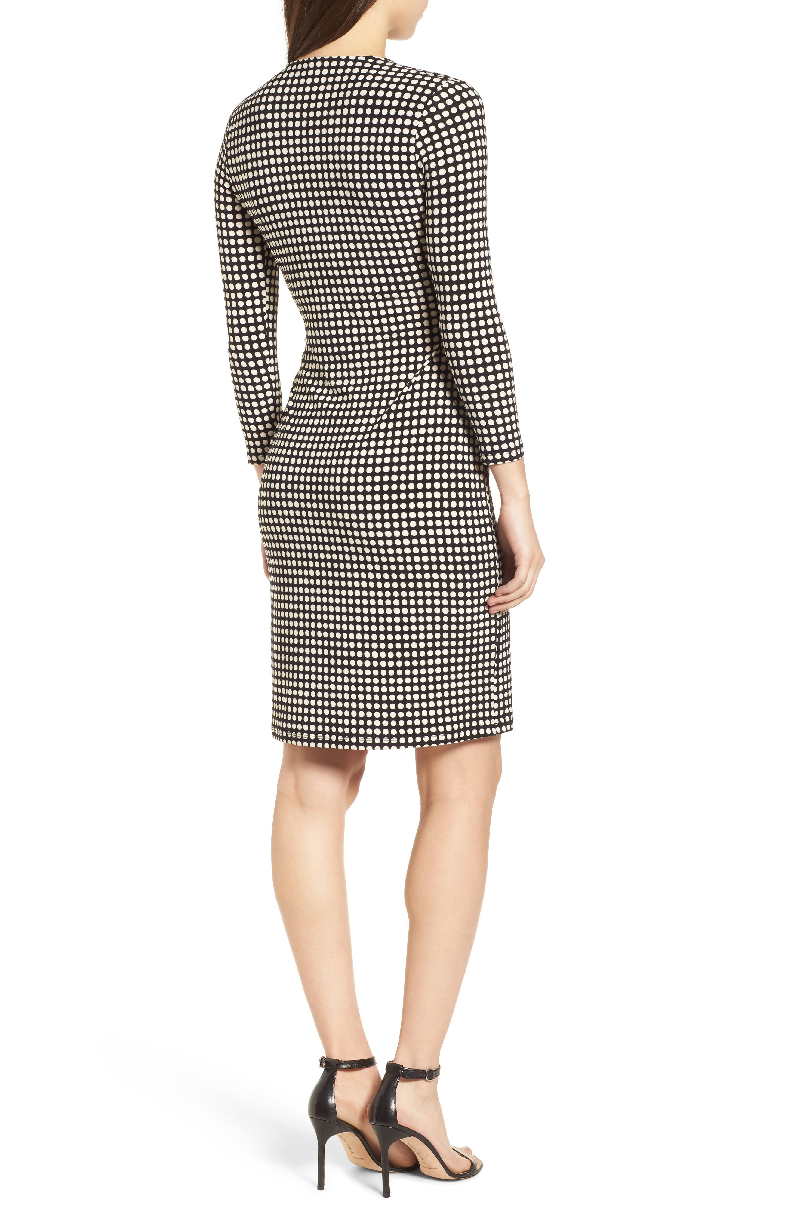 New York Pearly Dot Classic Wrap Dress,                             Alternate thumbnail 2, color,                             Black/ Parchment