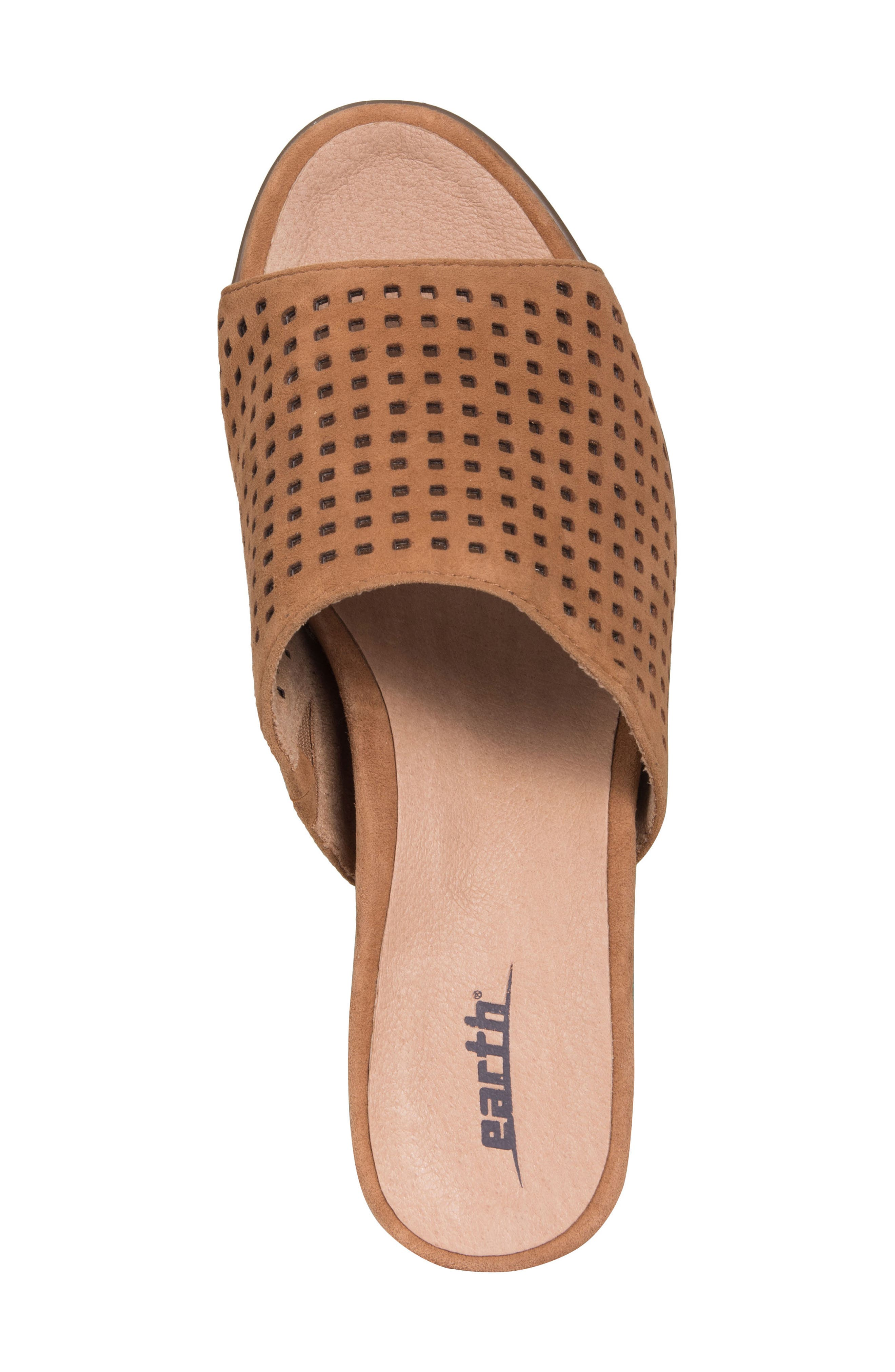 Ibiza Perforated Sandal,                             Alternate thumbnail 5, color,                             Amber Suede