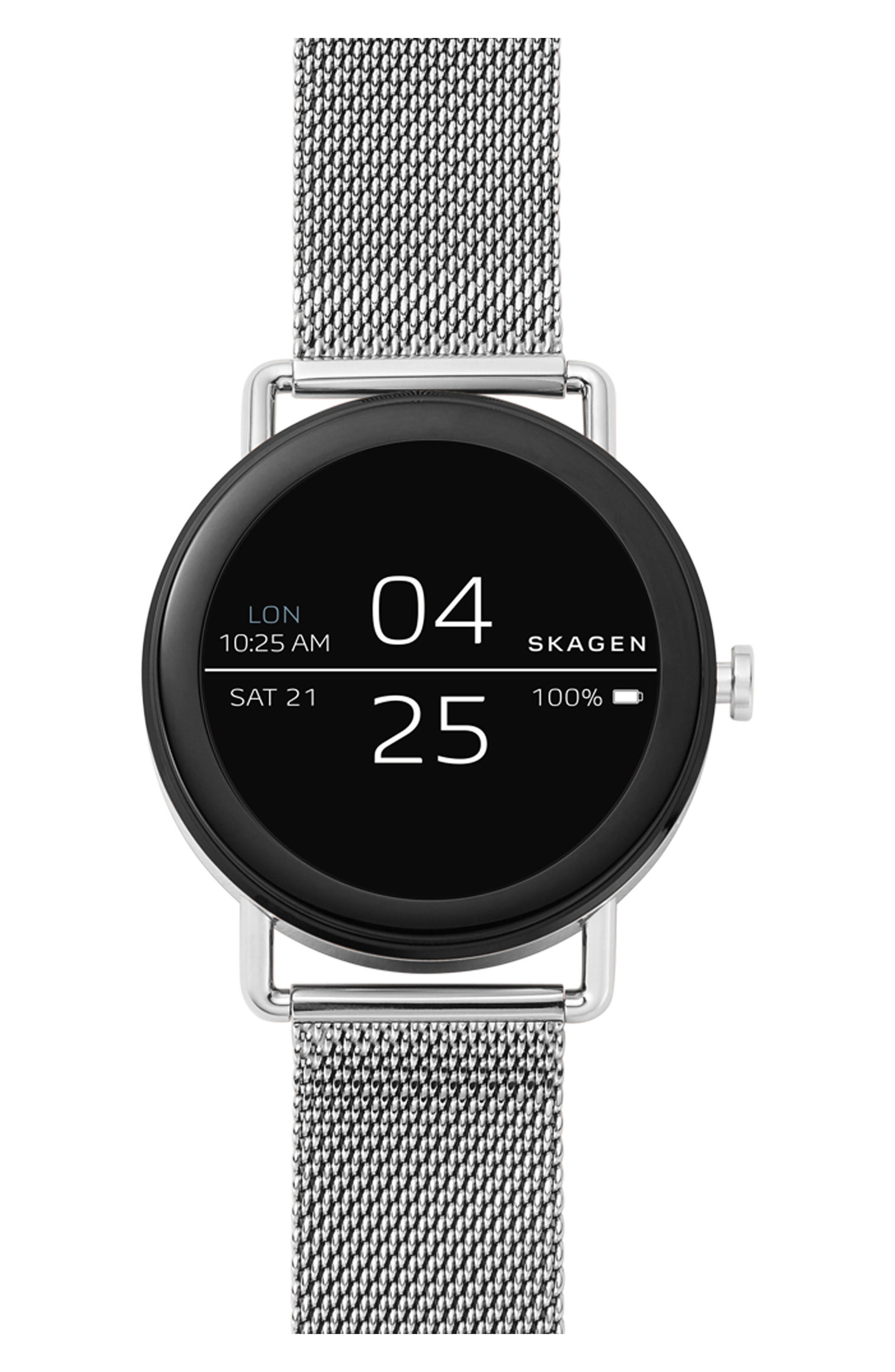 Falster Touchscreen Mesh Strap Smart Watch, 42mm,                             Main thumbnail 1, color,                             Silver