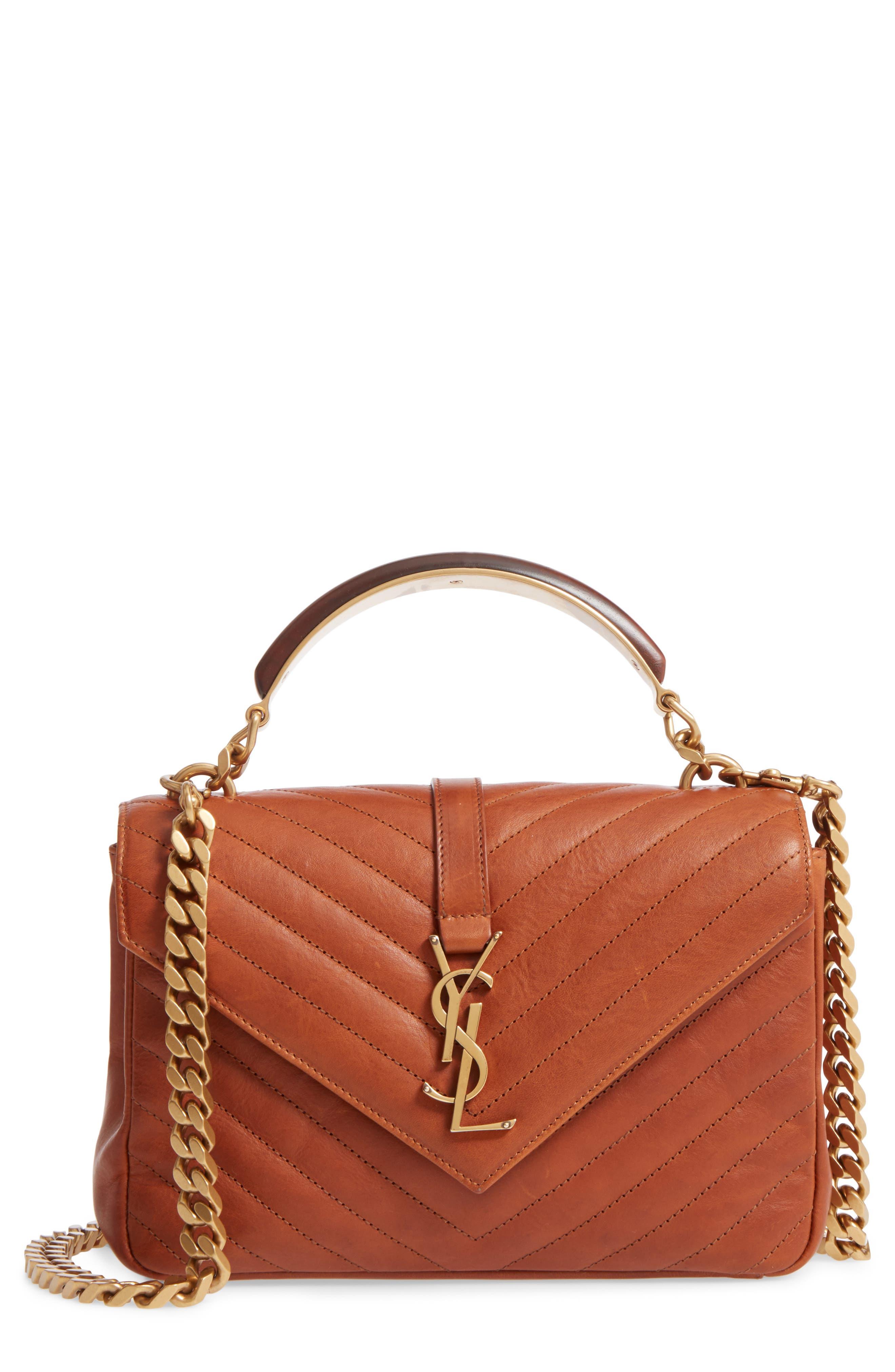 Saint Laurent Medium College Matelassé Leather Top Handle Bag