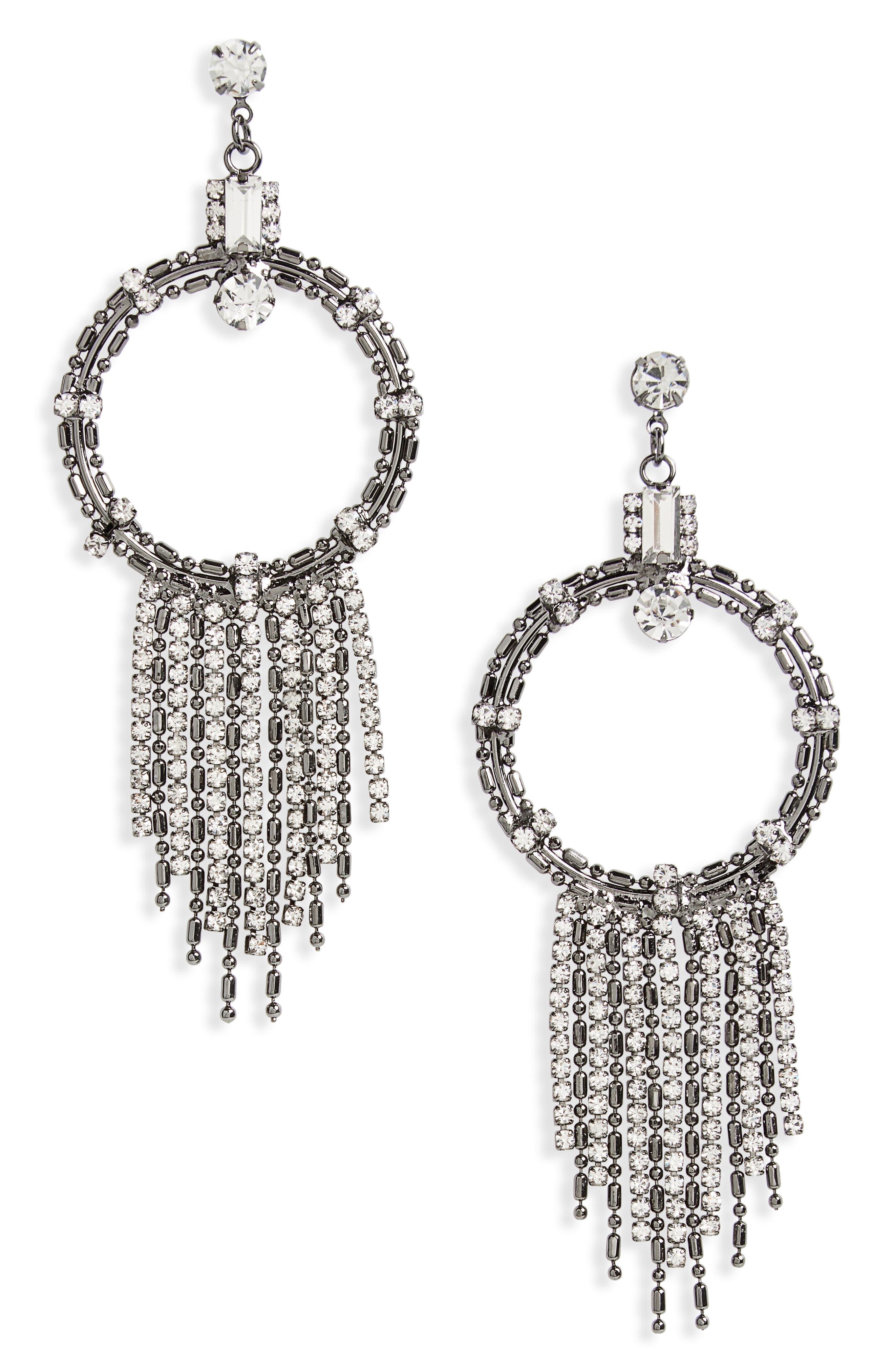 Crystal & Chain Circle Drop Earrings,                             Main thumbnail 1, color,                             Hem/ Crystal