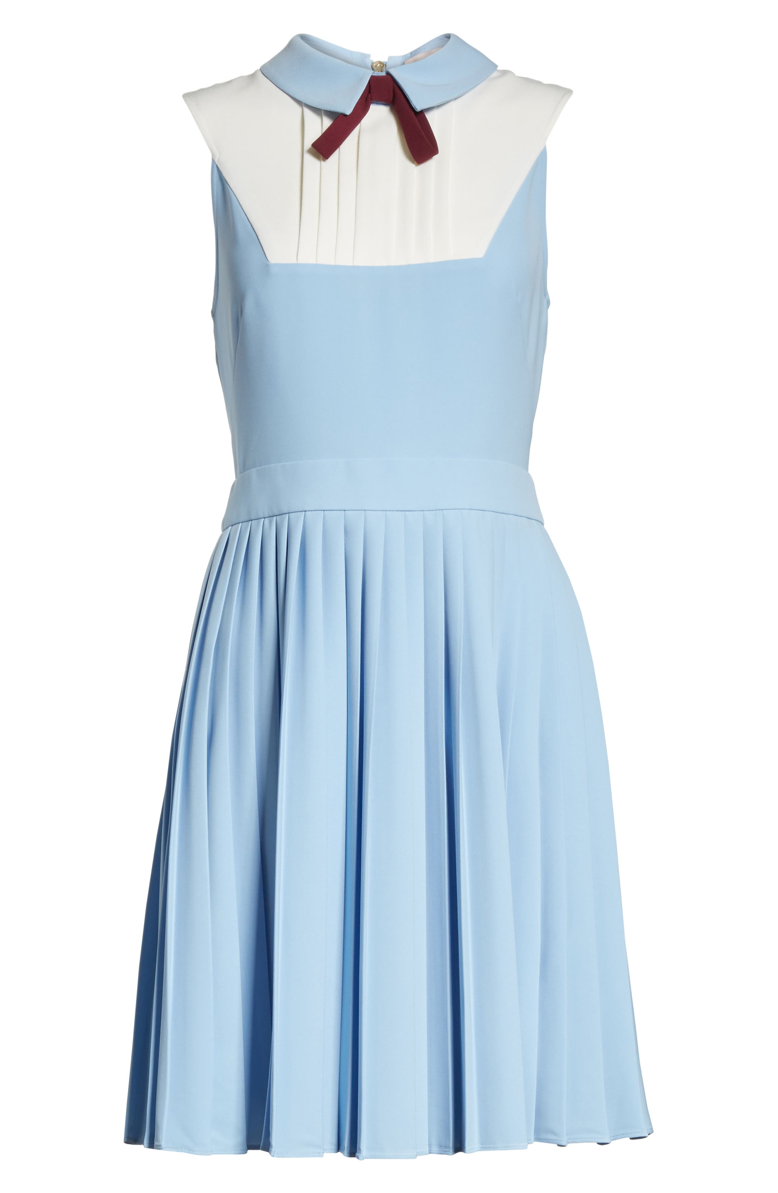 Pleated Fit & Flare Dress,                             Alternate thumbnail 6, color,                             Baby Blue