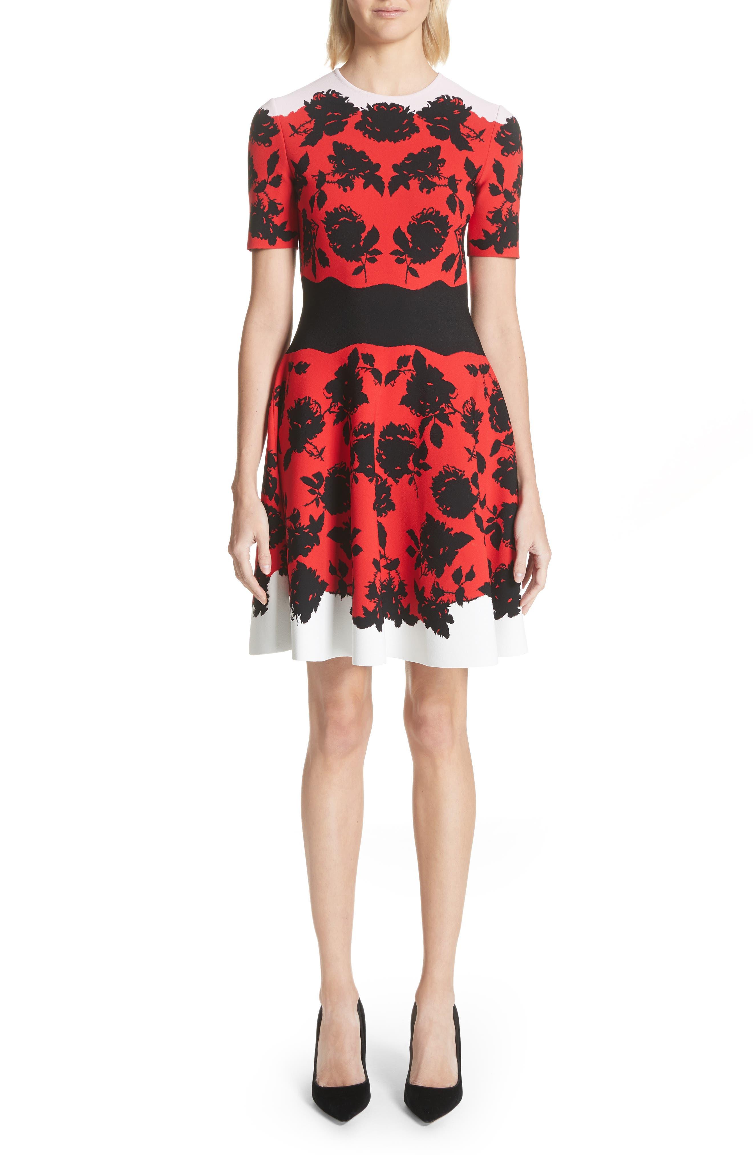 Rose Jacquard Knit Flounce Dress,                         Main,                         color, Red/ Black/ Ivory/ Pink