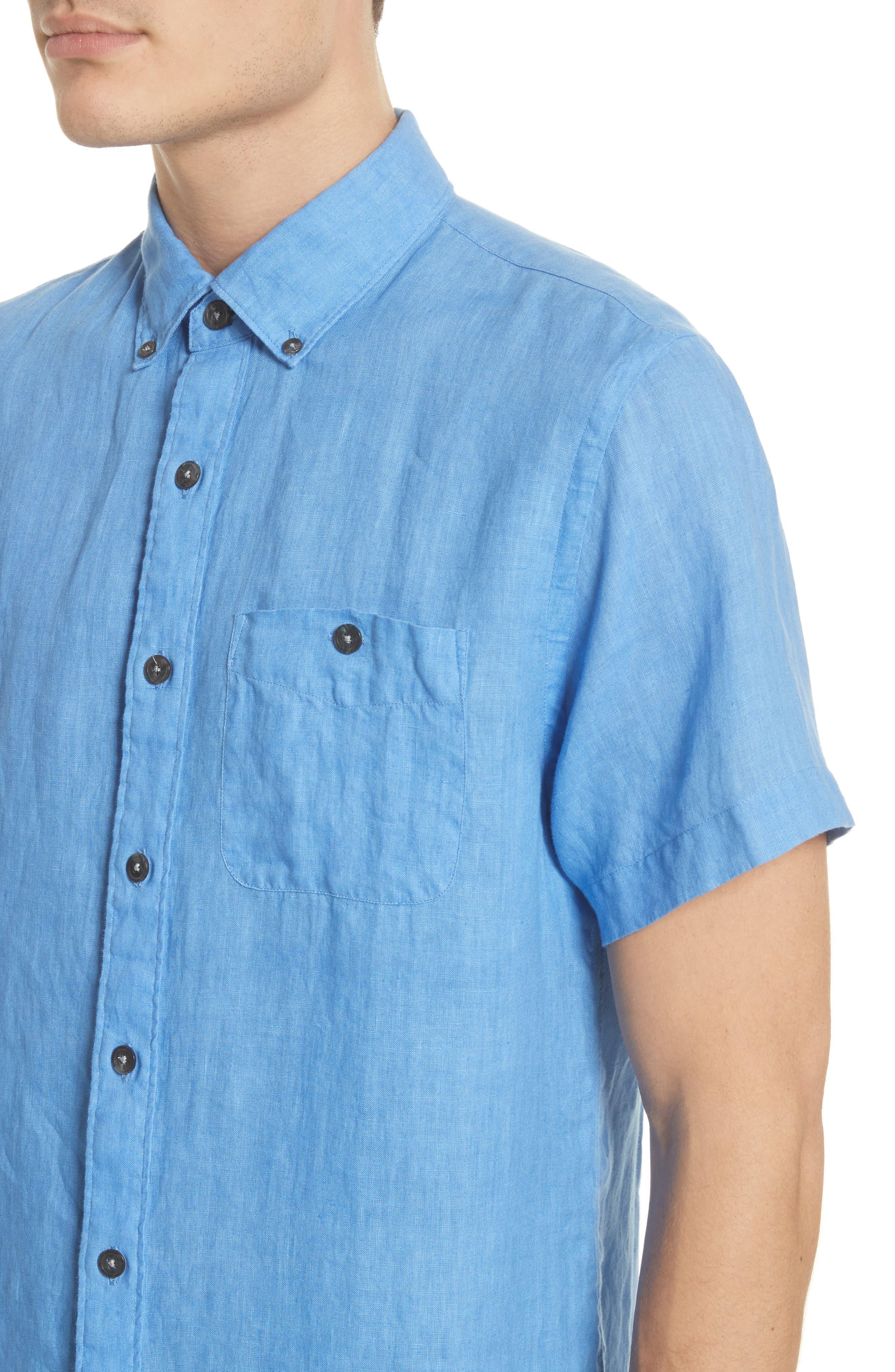 Short Sleeve Woven Linen Shirt,                             Alternate thumbnail 4, color,                             Blue