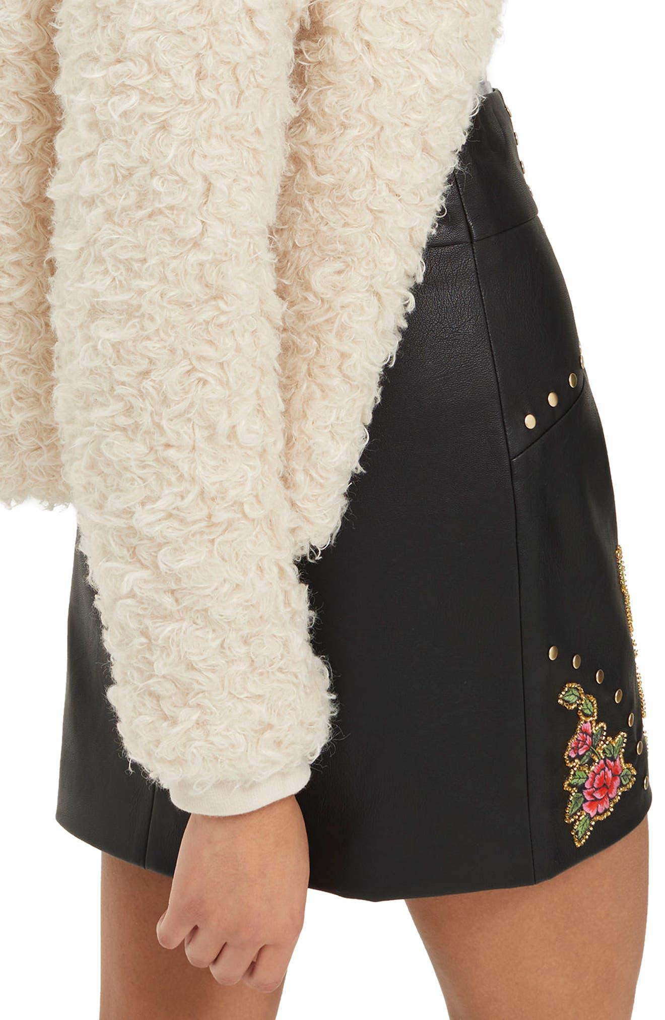 Embellished Floral Faux Leather Skirt,                             Alternate thumbnail 2, color,                             Black Multi