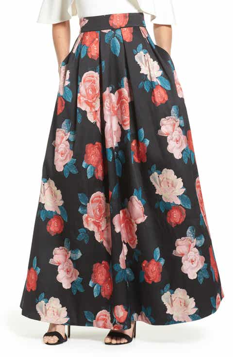 Eliza J Pleated Jacquard Ball Skirt
