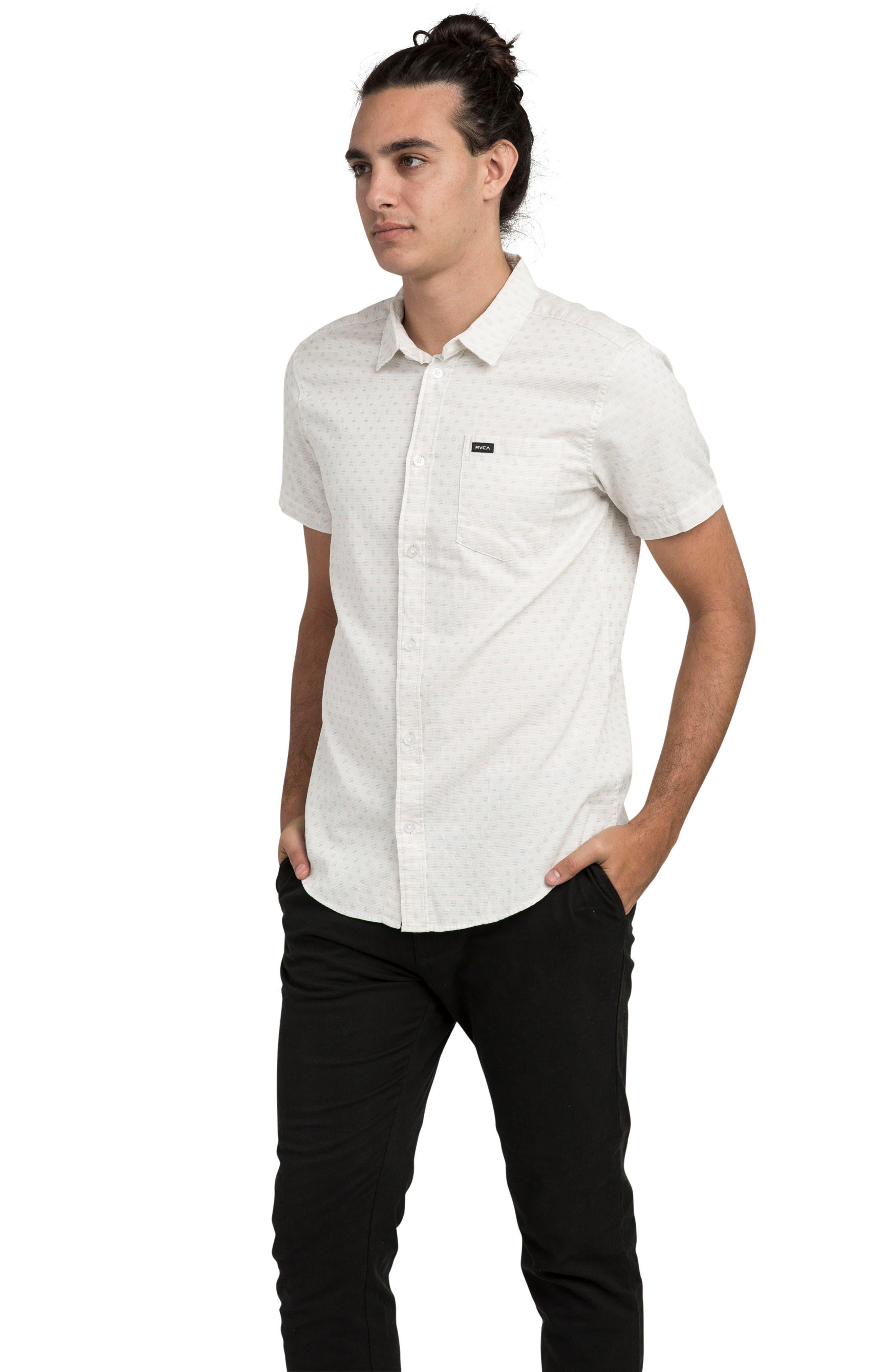 E Dot Woven Shirt,                             Alternate thumbnail 3, color,                             Antique White
