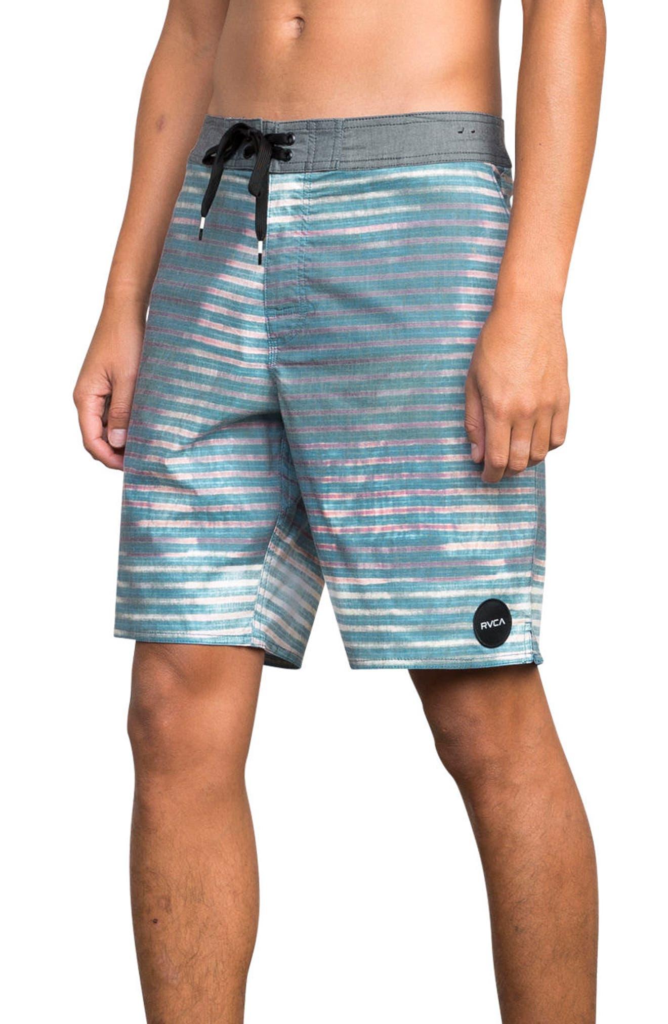 Boppa Stripe Swim Trunks,                             Alternate thumbnail 3, color,                             Blue Fade