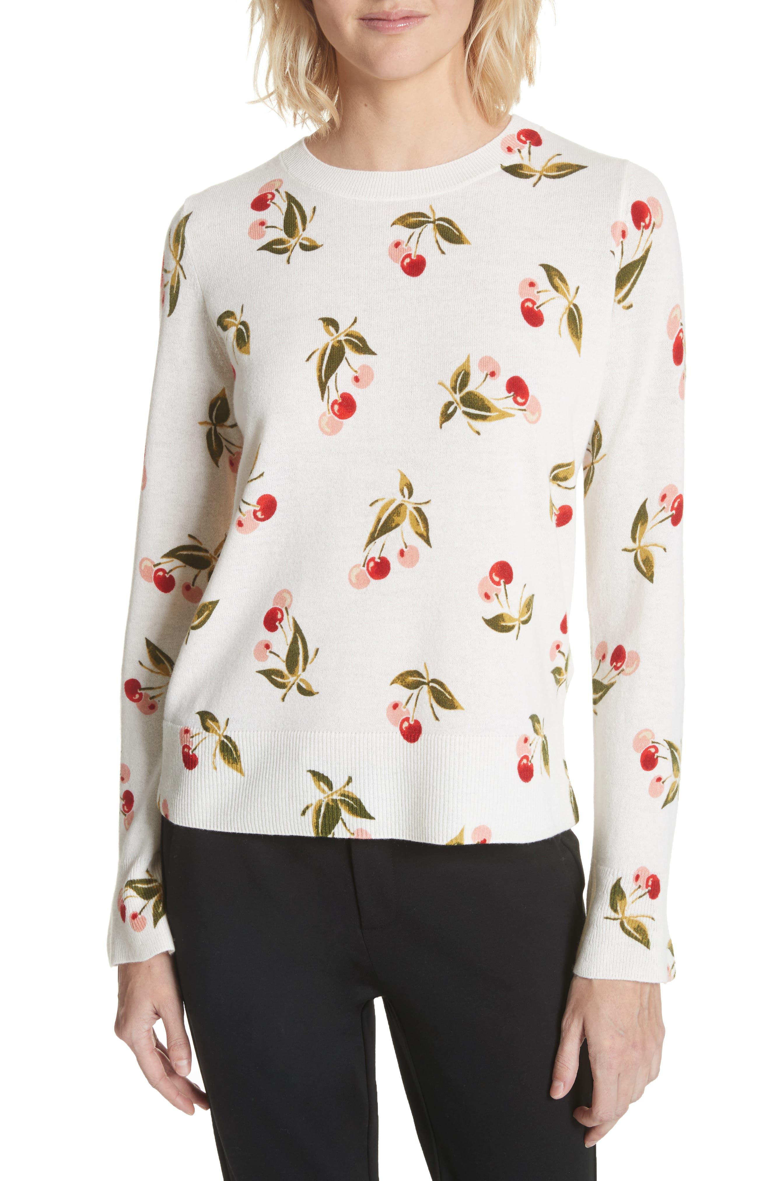 Print Cashmere Sweater,                         Main,                         color, Porcelain