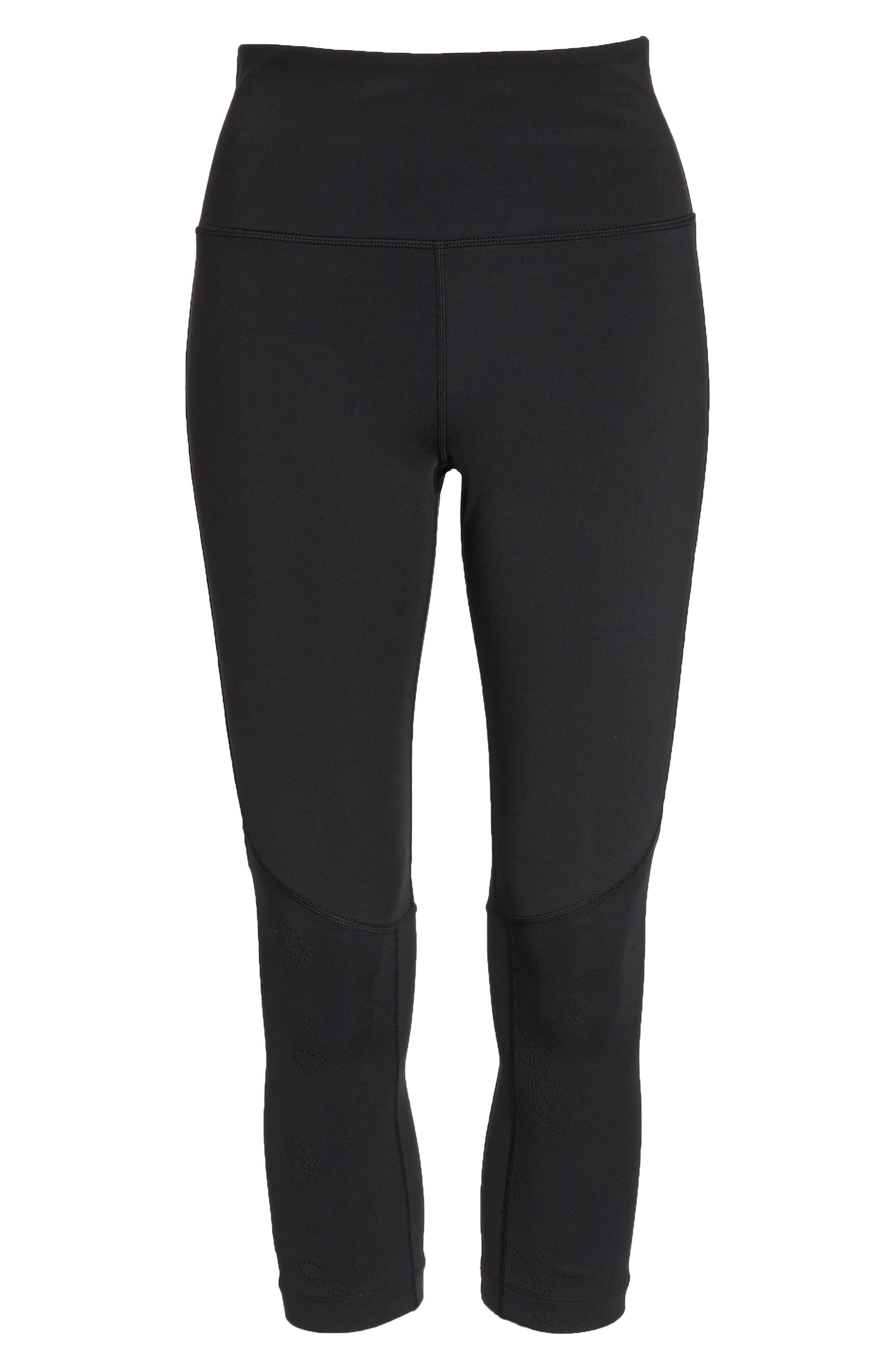 floral laser cut leggings,                             Alternate thumbnail 6, color,                             Black