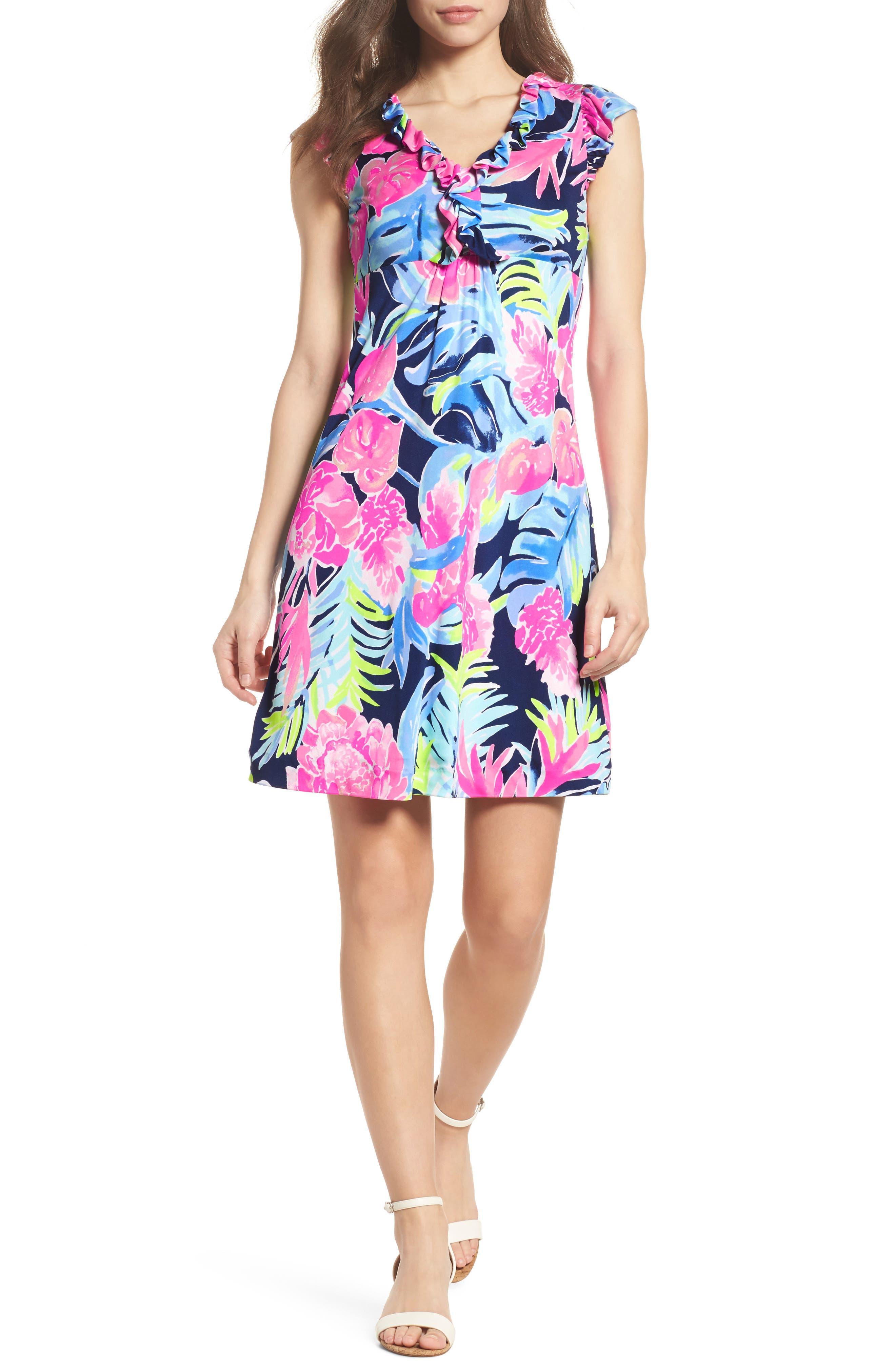 Clare Floral Silk A-Line Dress,                         Main,                         color, High Tide Tropicolada