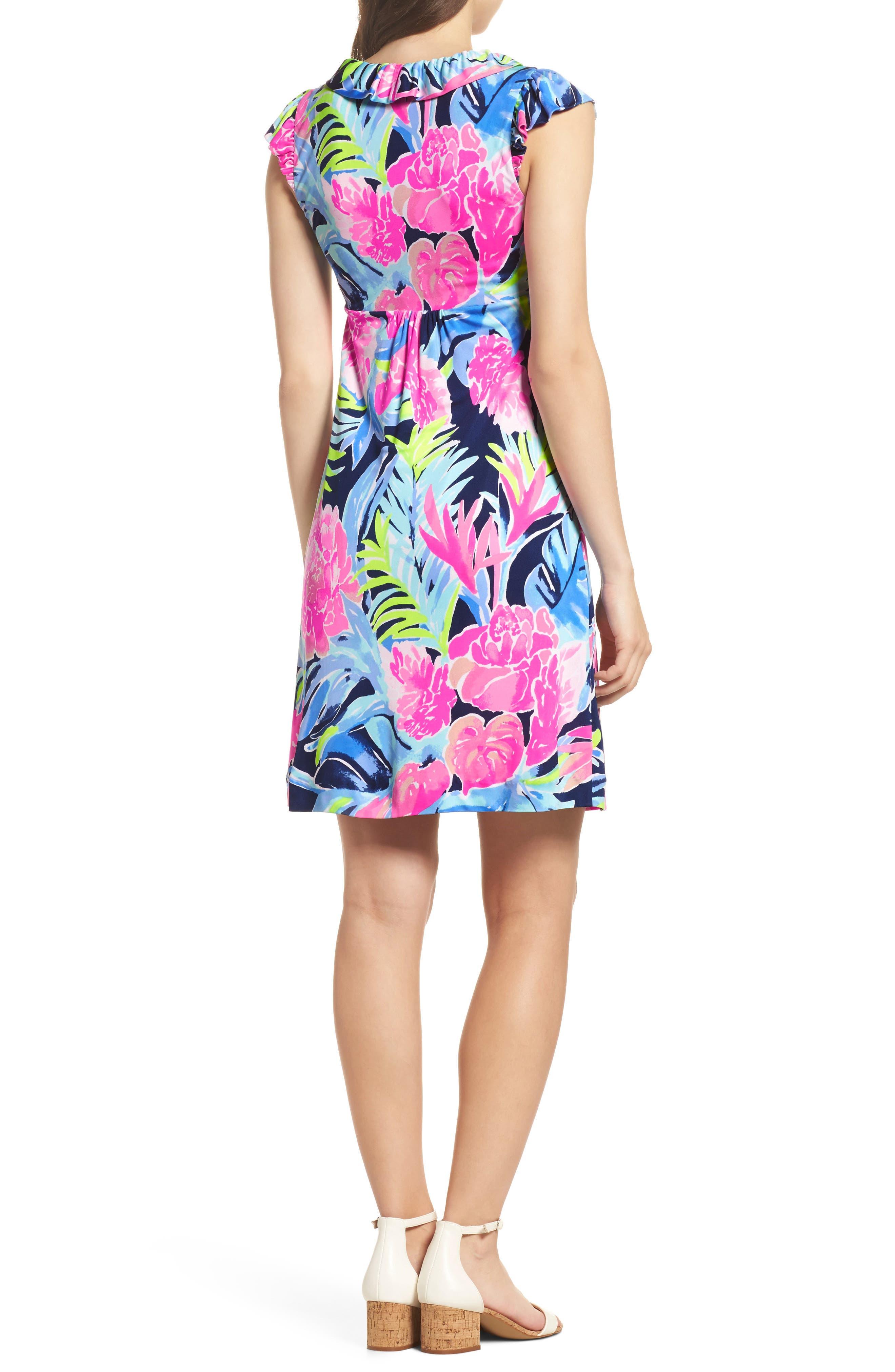 Clare Floral Silk A-Line Dress,                             Alternate thumbnail 2, color,                             High Tide Tropicolada