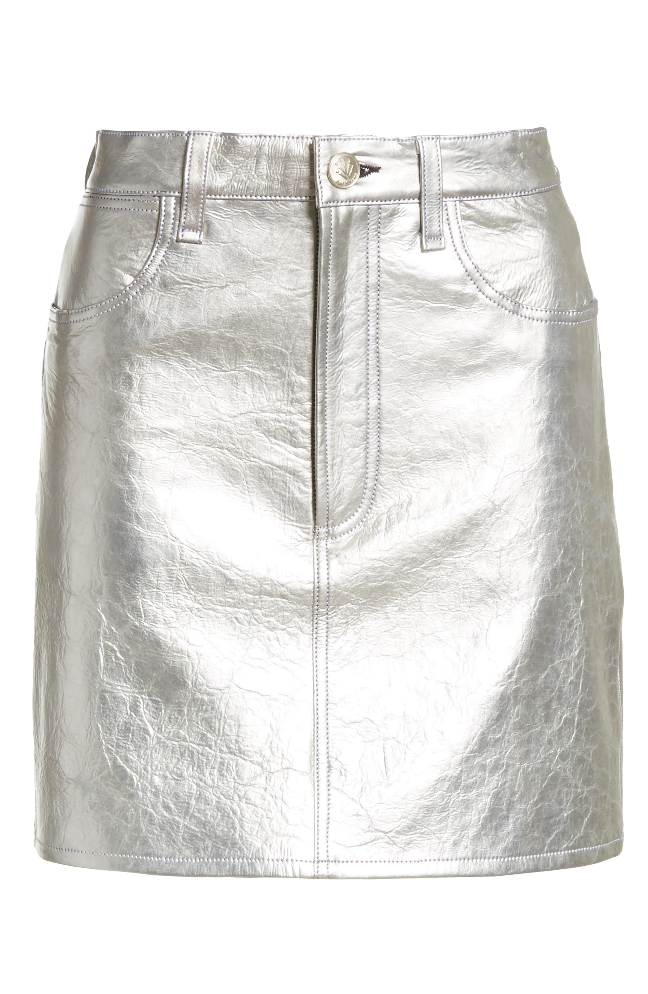 Moss High Waist Leather Miniskirt,                             Alternate thumbnail 6, color,                             Metallic