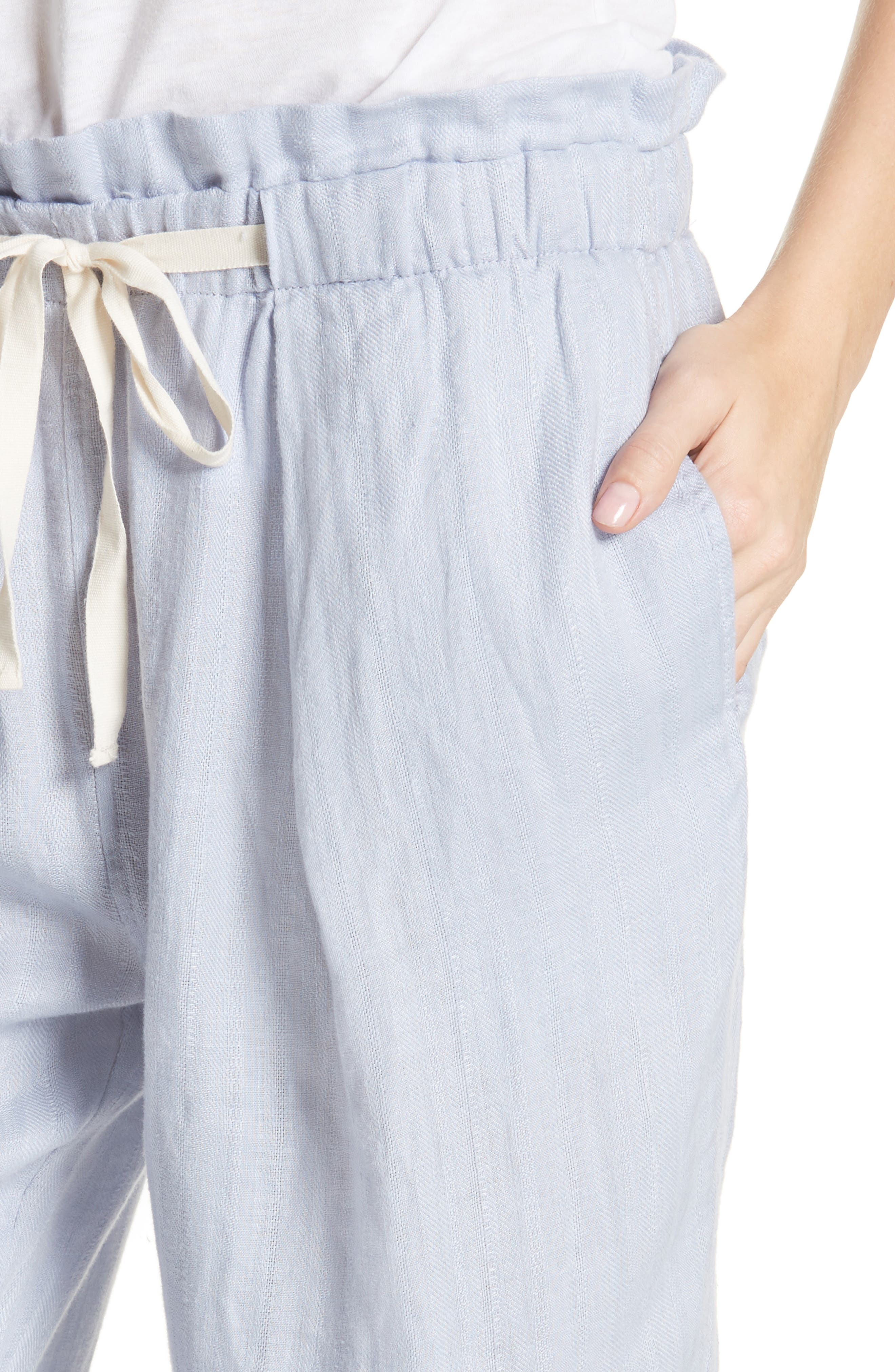 Only over You Linen Trousers,                             Alternate thumbnail 4, color,                             Pearl