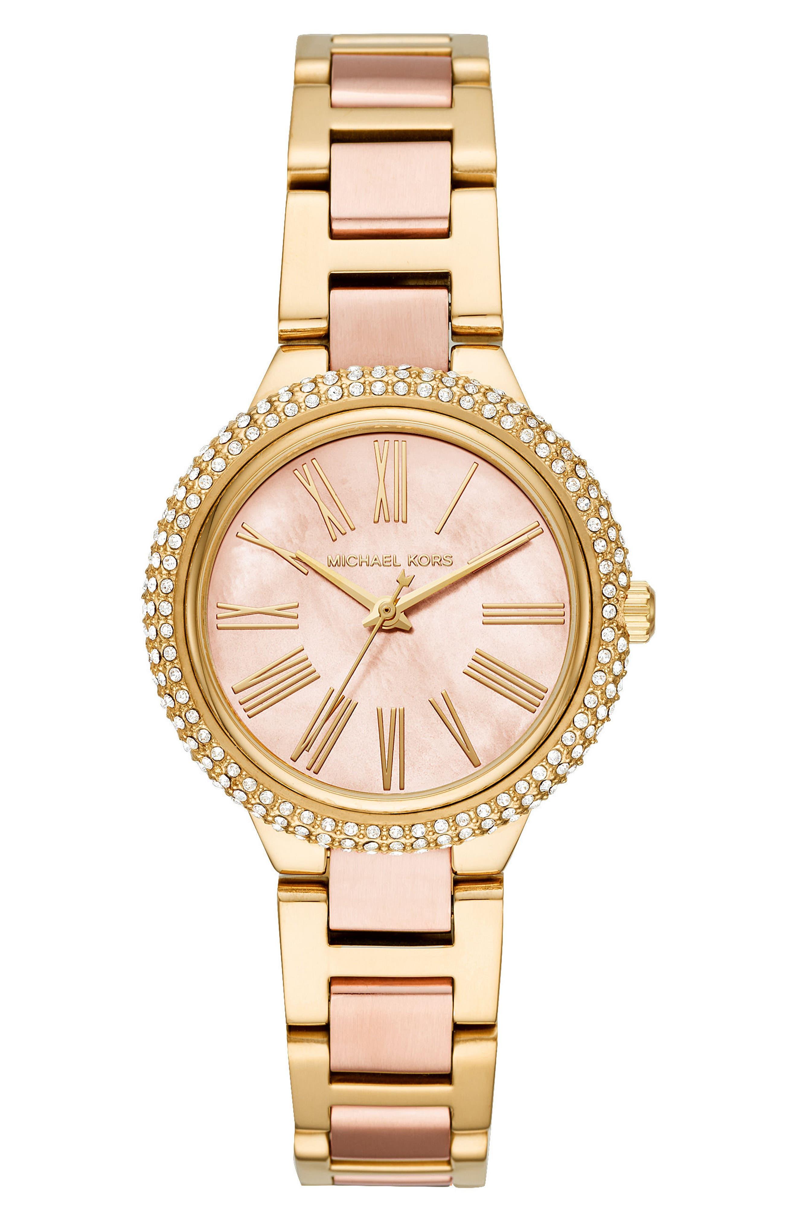 Taryn Crystal Bracelet Watch, 33mm,                         Main,                         color, Rose Gold/ Gold/ Rose Gold