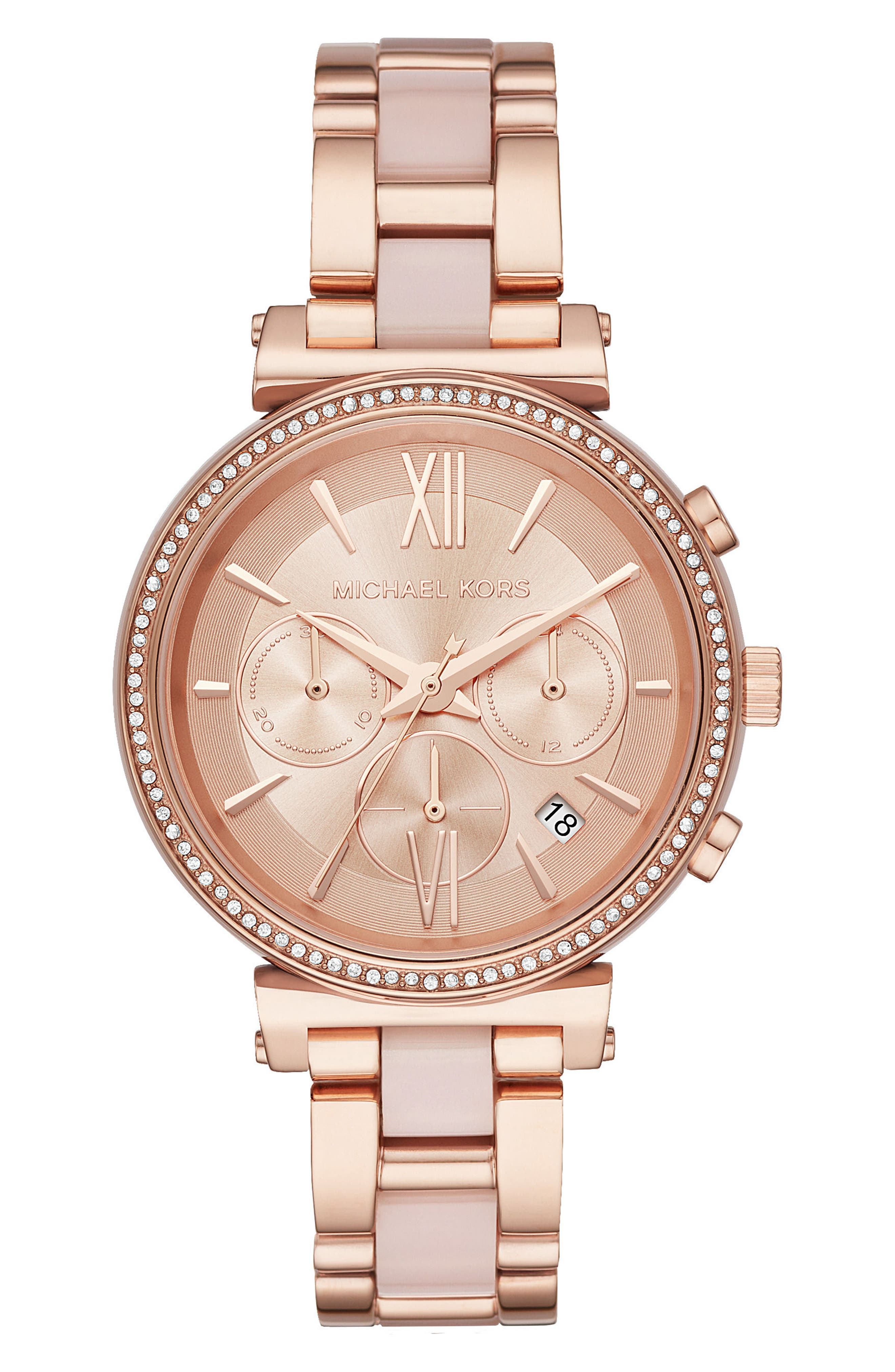 Sofie Chronograph Bracelet Watch, 39mm,                             Main thumbnail 1, color,                             Rose Gold