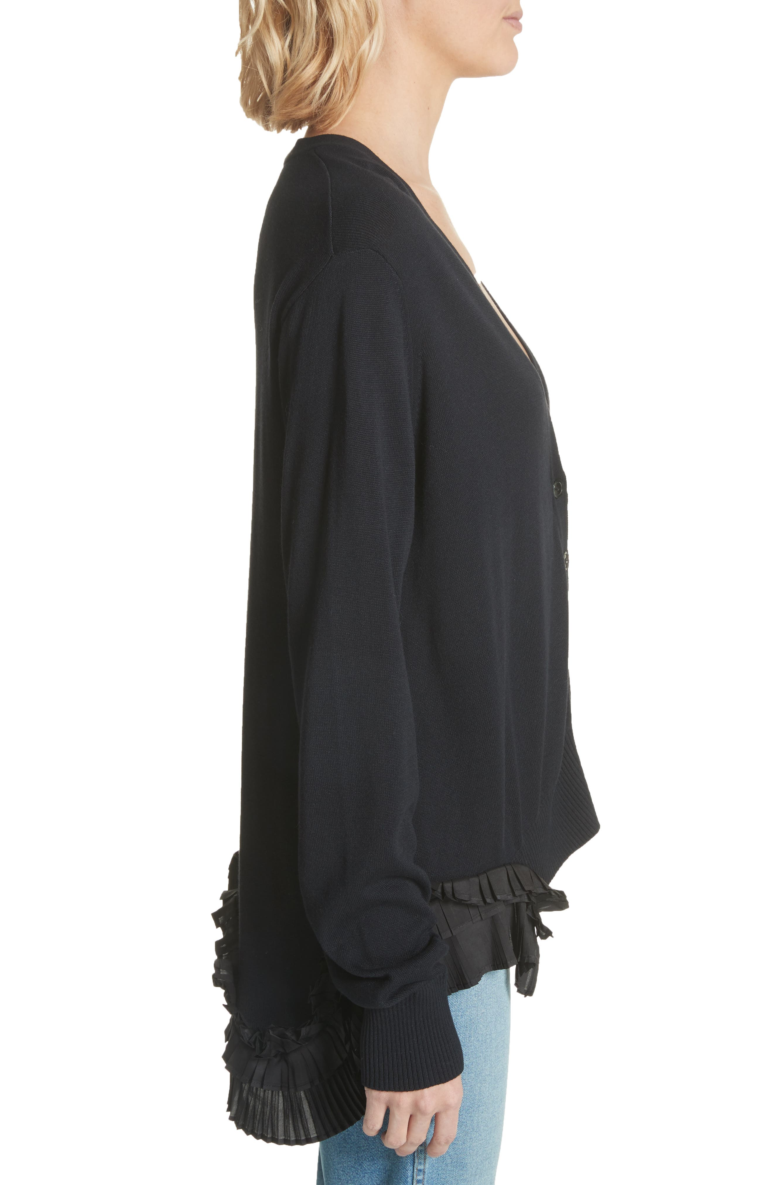 Pleat Ruffle Trim Cardigan,                             Alternate thumbnail 3, color,                             Black