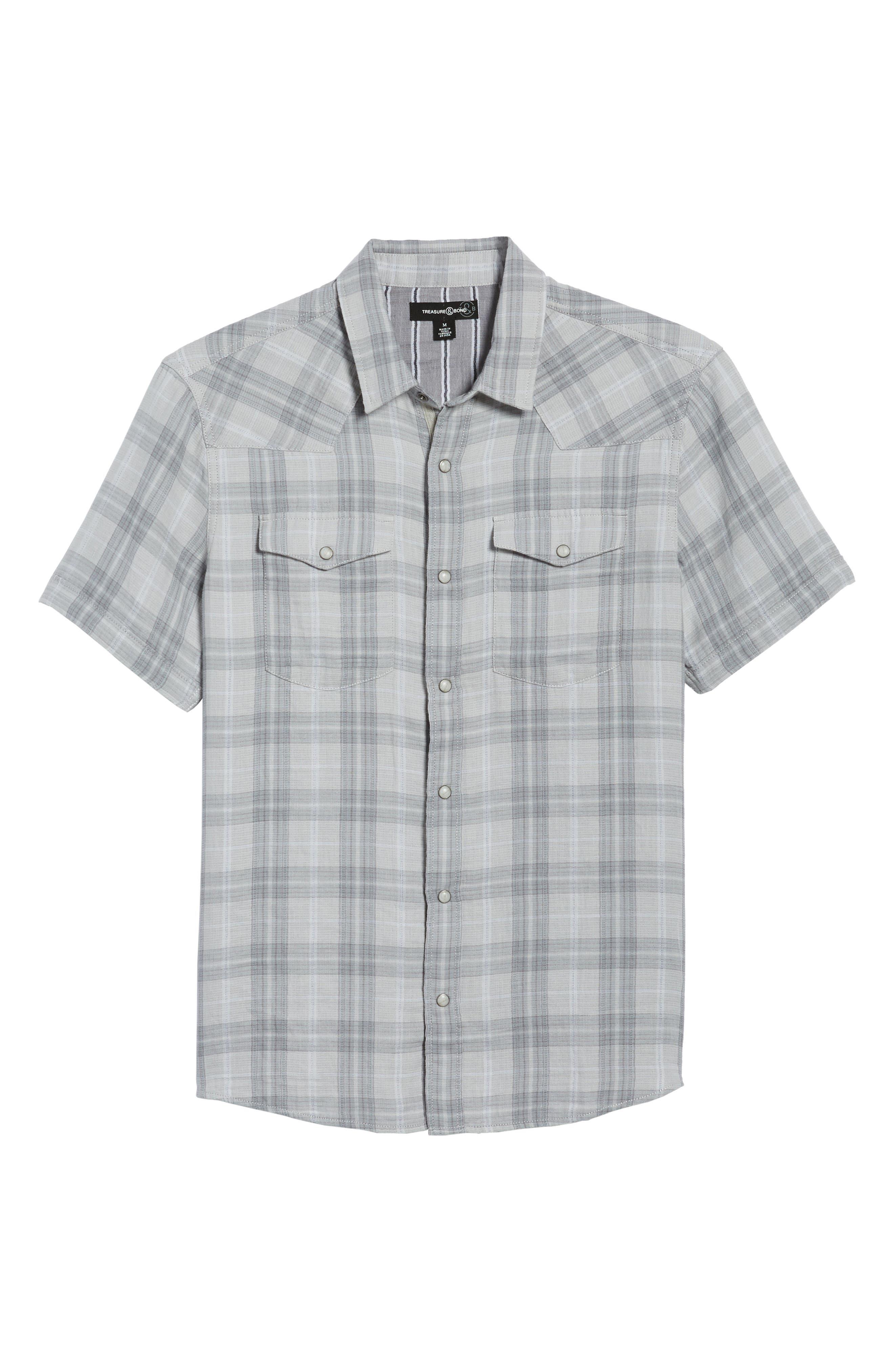 Plaid Short Sleeve Sport Shirt,                             Alternate thumbnail 5, color,                             Grey Sleet Plaid Duofold