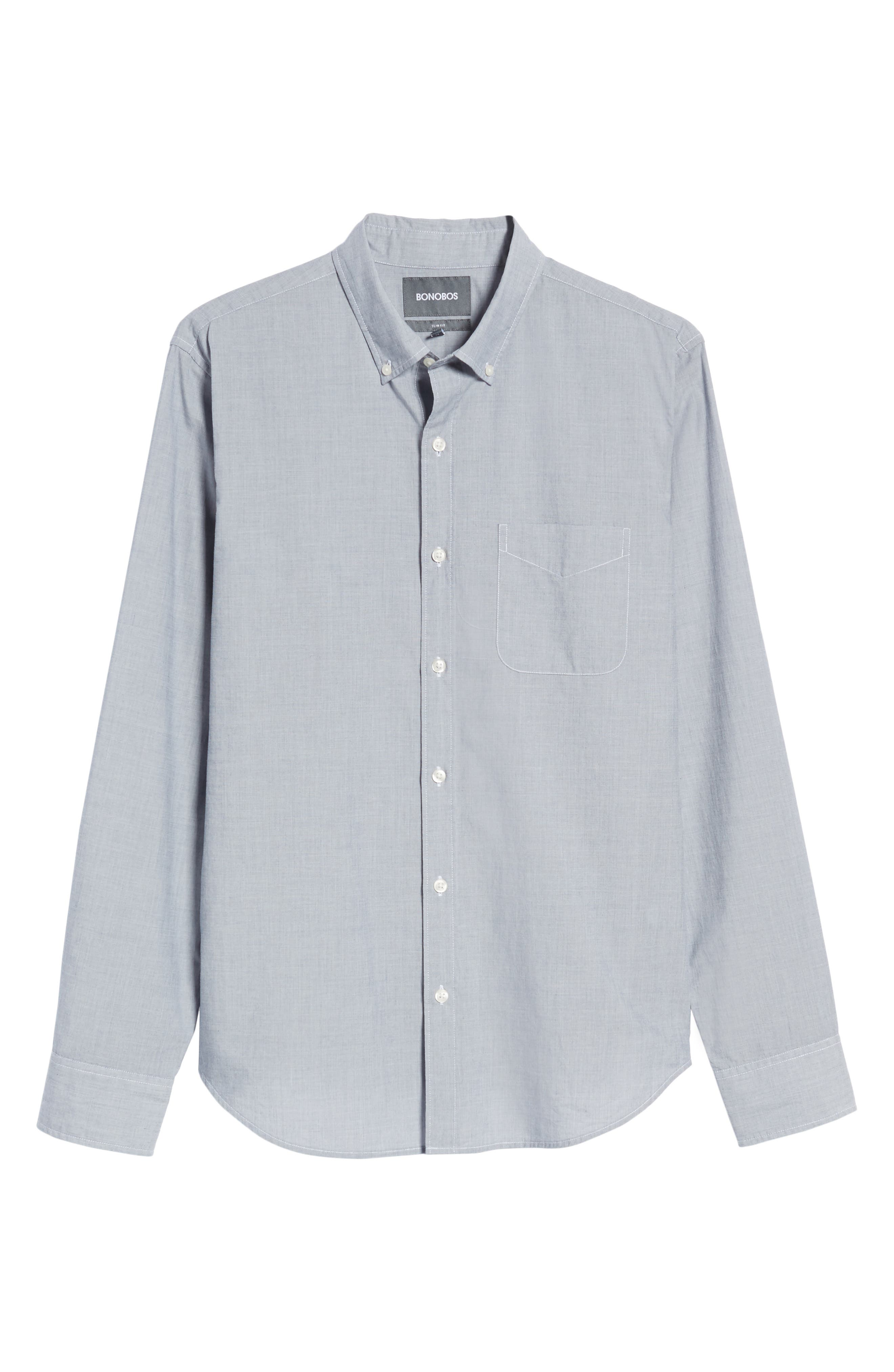 Summerweight Slim Fit Sport Shirt,                             Alternate thumbnail 6, color,                             End On End Solid - Blue Depths