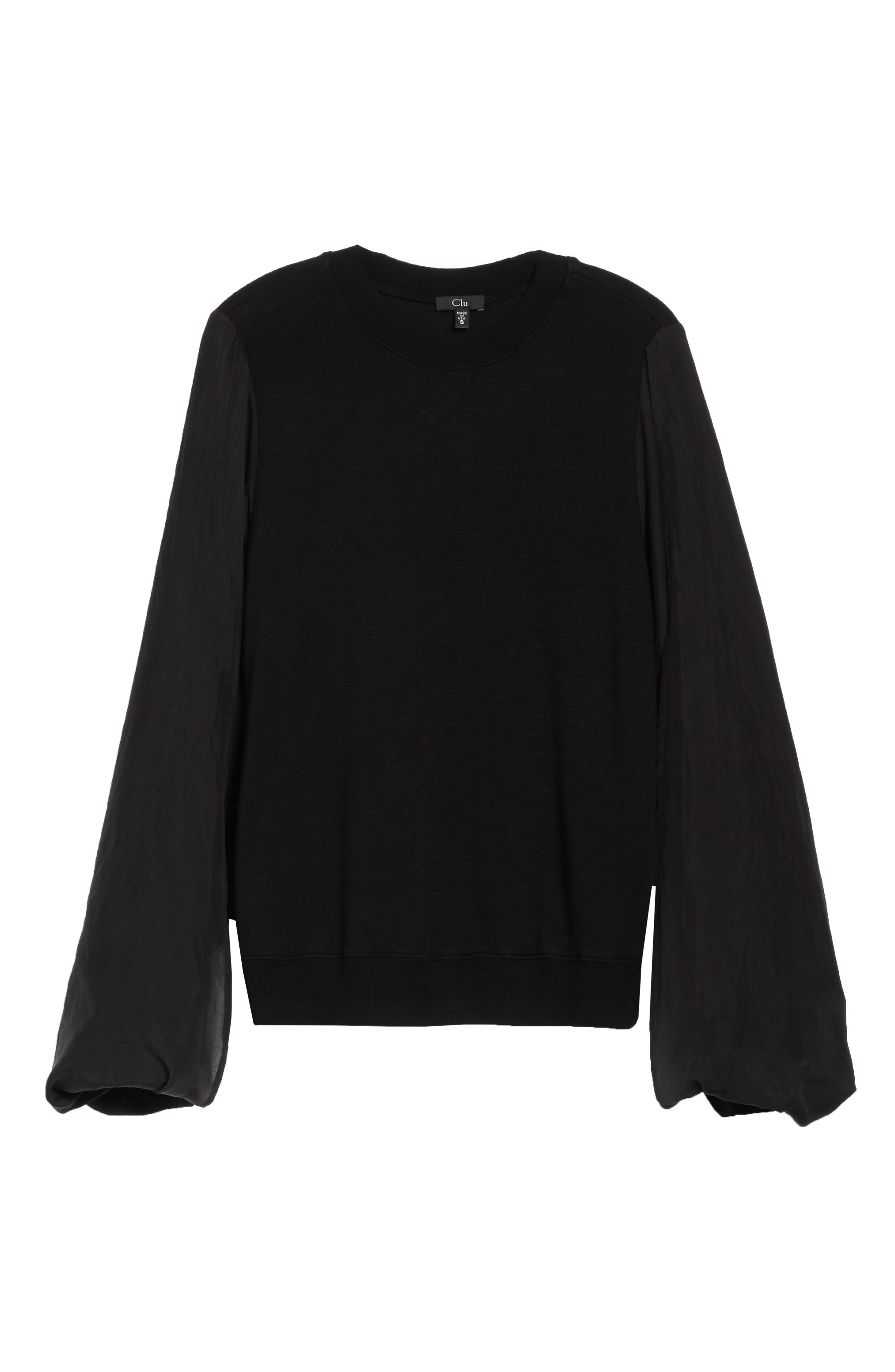 Contrast Sleeve Sweatshirt,                             Alternate thumbnail 6, color,                             Black