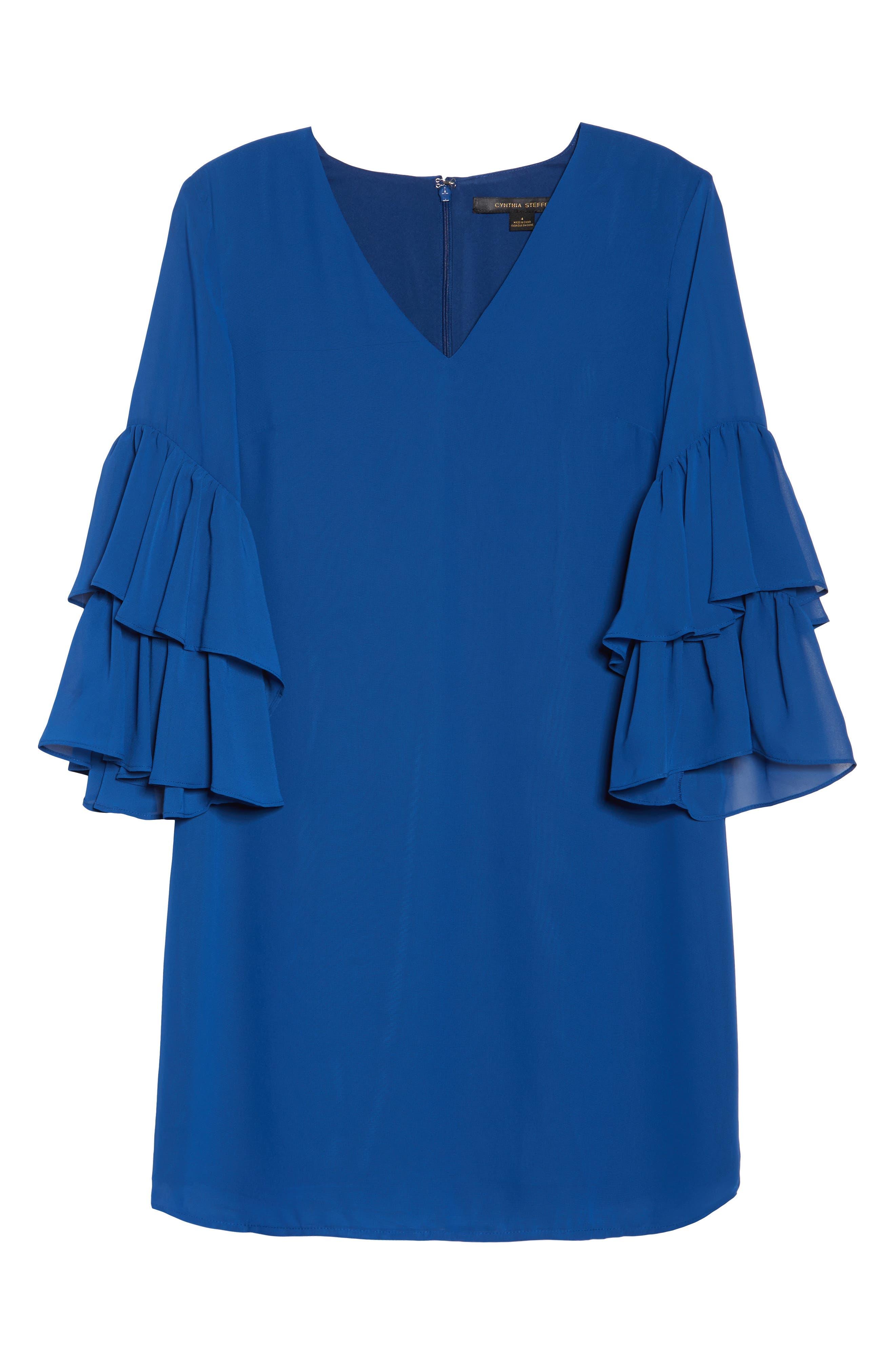 Carmen Tiered Ruffle Sleeve Shift Dress,                             Alternate thumbnail 7, color,                             Deep Sapphire