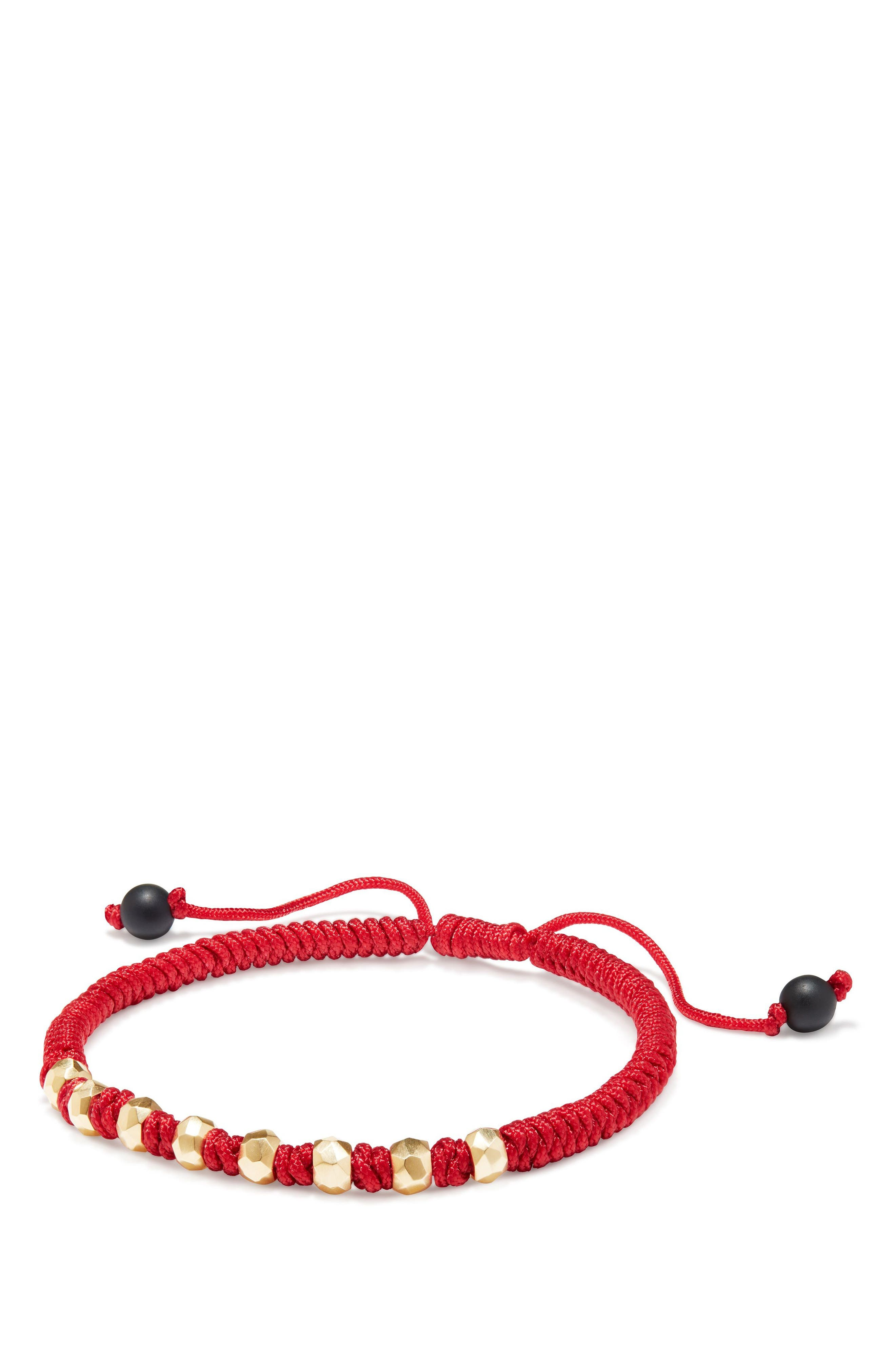 DY Fortune Woven Bracelet with Black Onyx in 18K Gold,                             Main thumbnail 1, color,                             Red