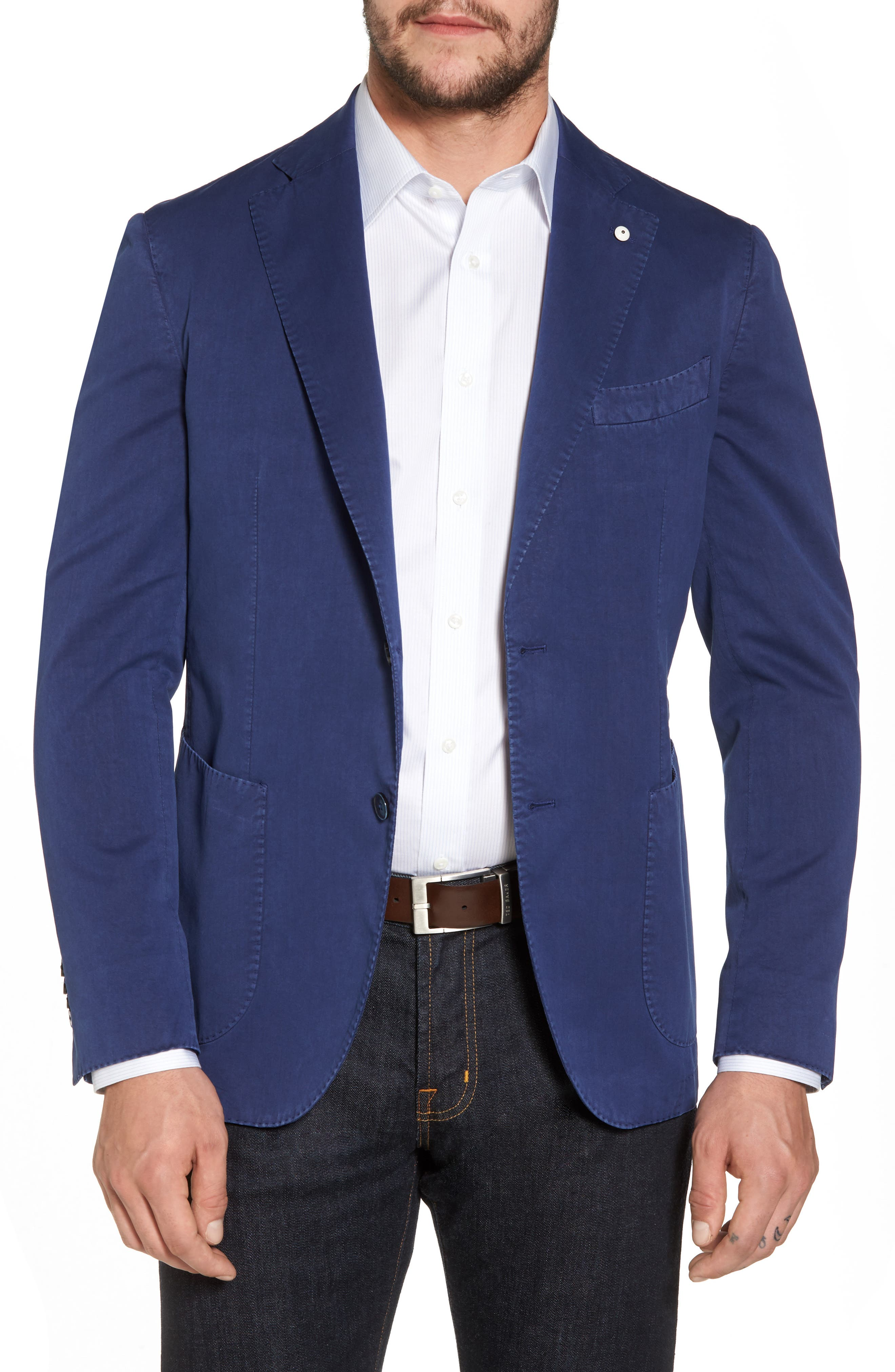 Classic Fit Cotton & Silk Blazer,                         Main,                         color, Navy
