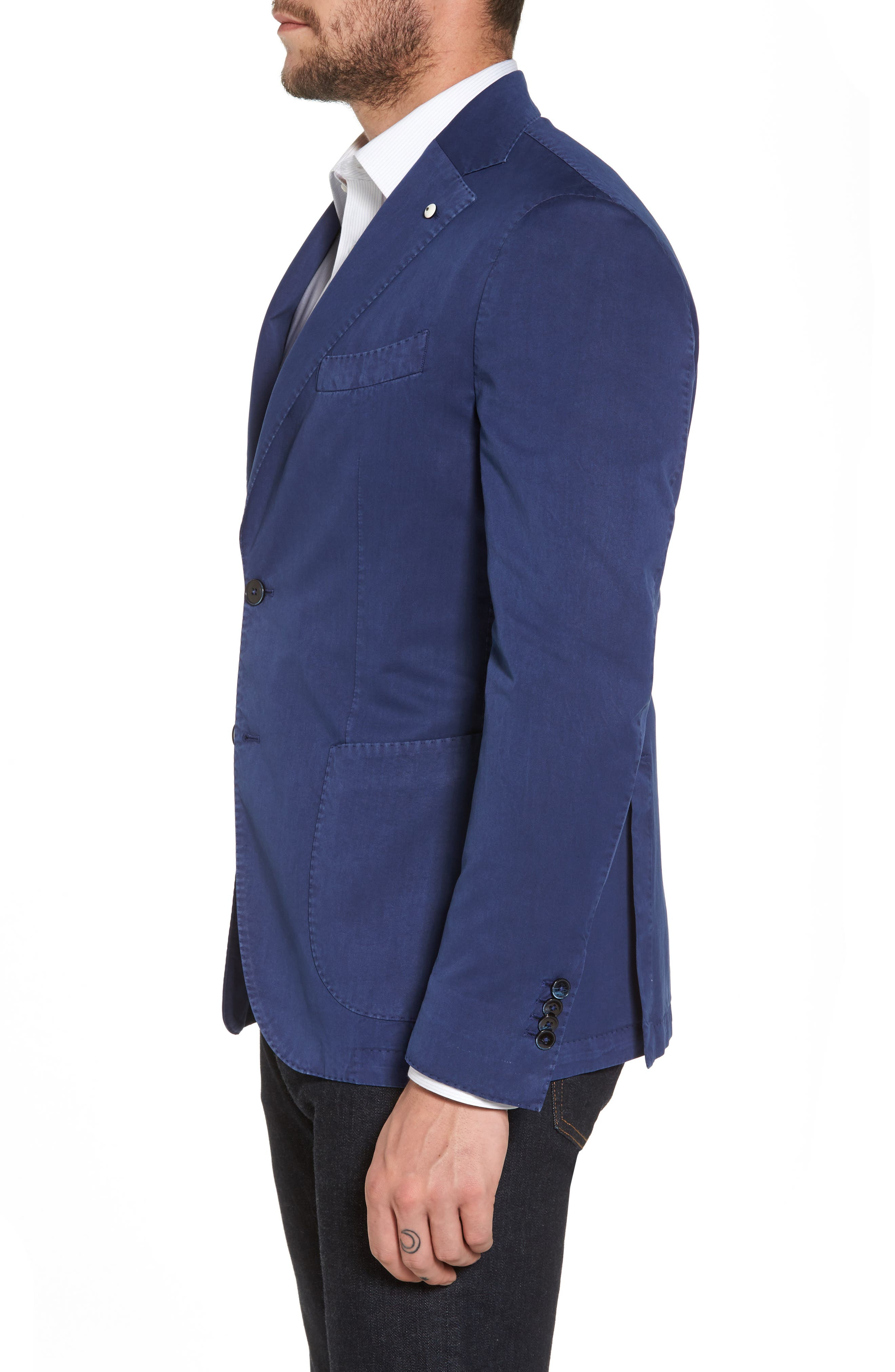 Classic Fit Cotton & Silk Blazer,                             Alternate thumbnail 3, color,                             Navy