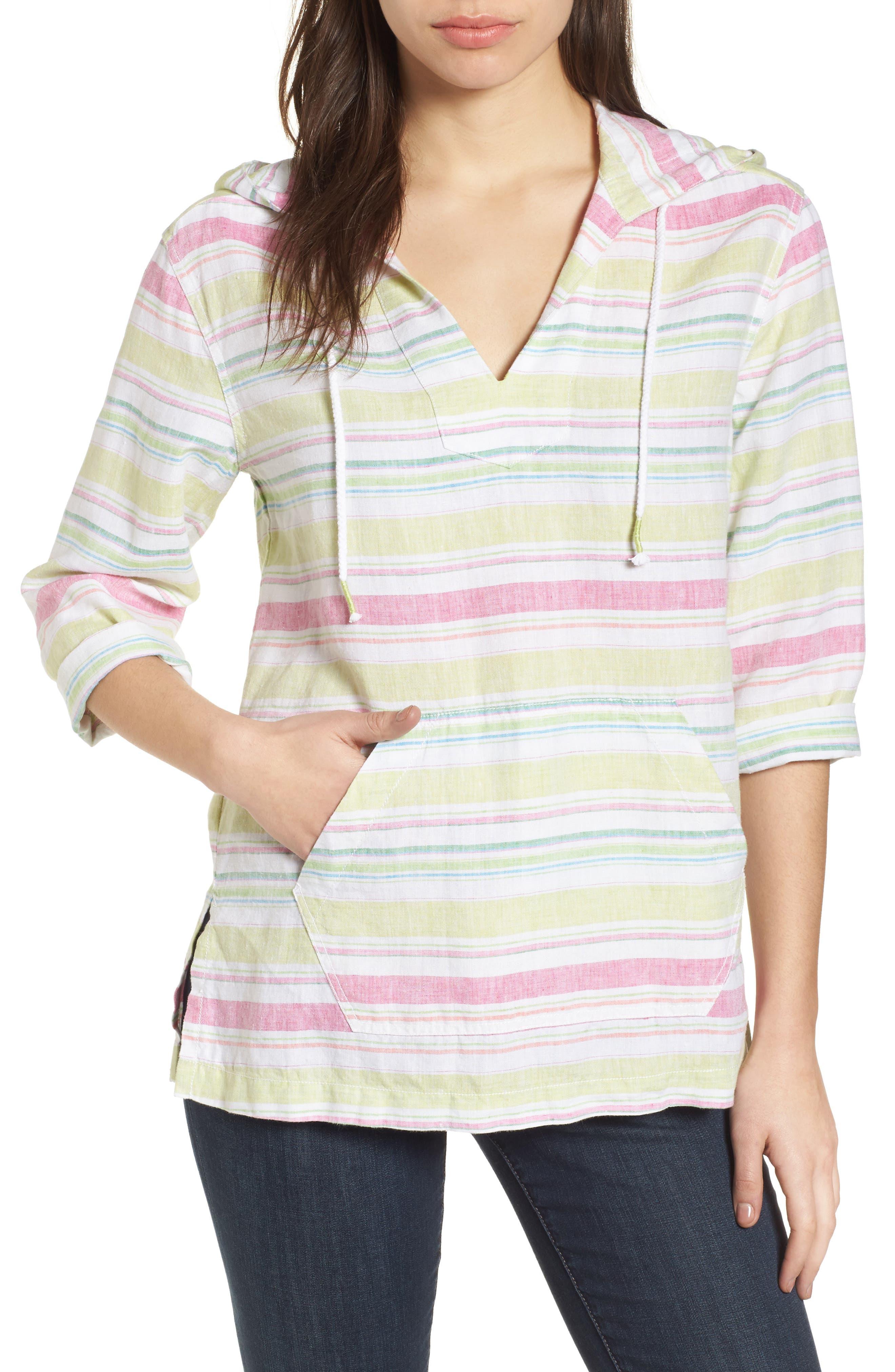 Tulum Stripe Linen Hoodie,                             Main thumbnail 1, color,                             Energy Yellow