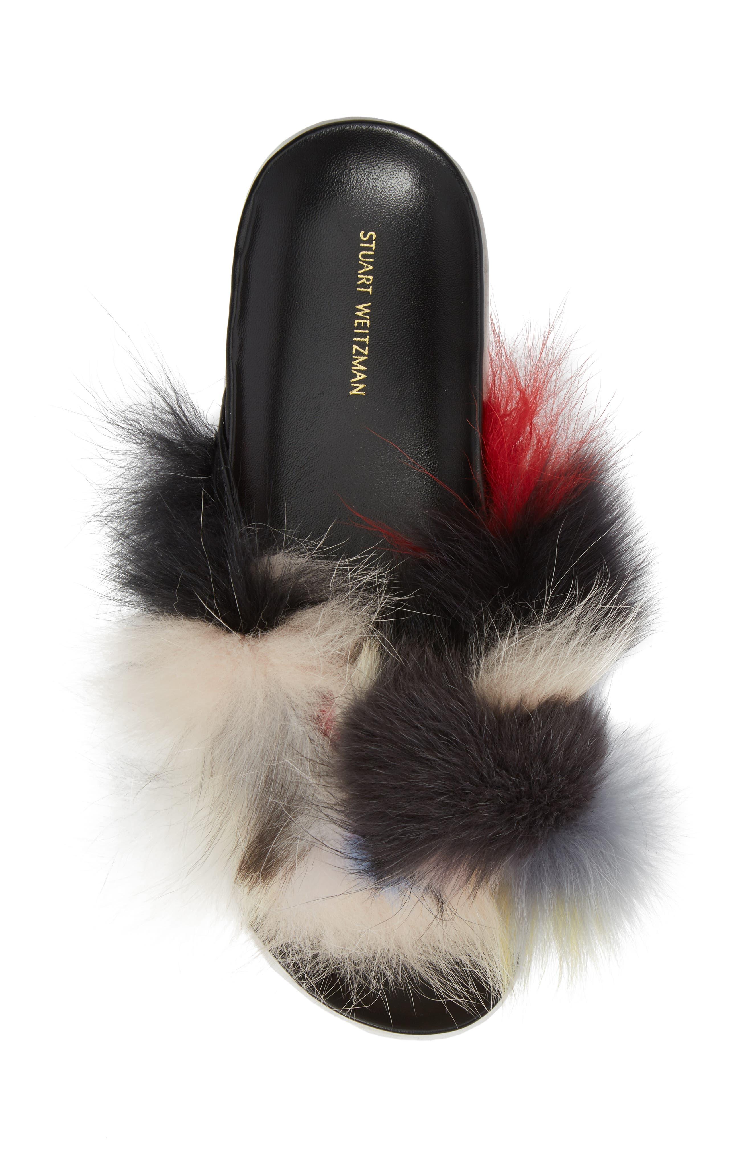 Sublime Genuine Fox Fur Slide Sandal,                             Alternate thumbnail 5, color,                             Carnival Furmania