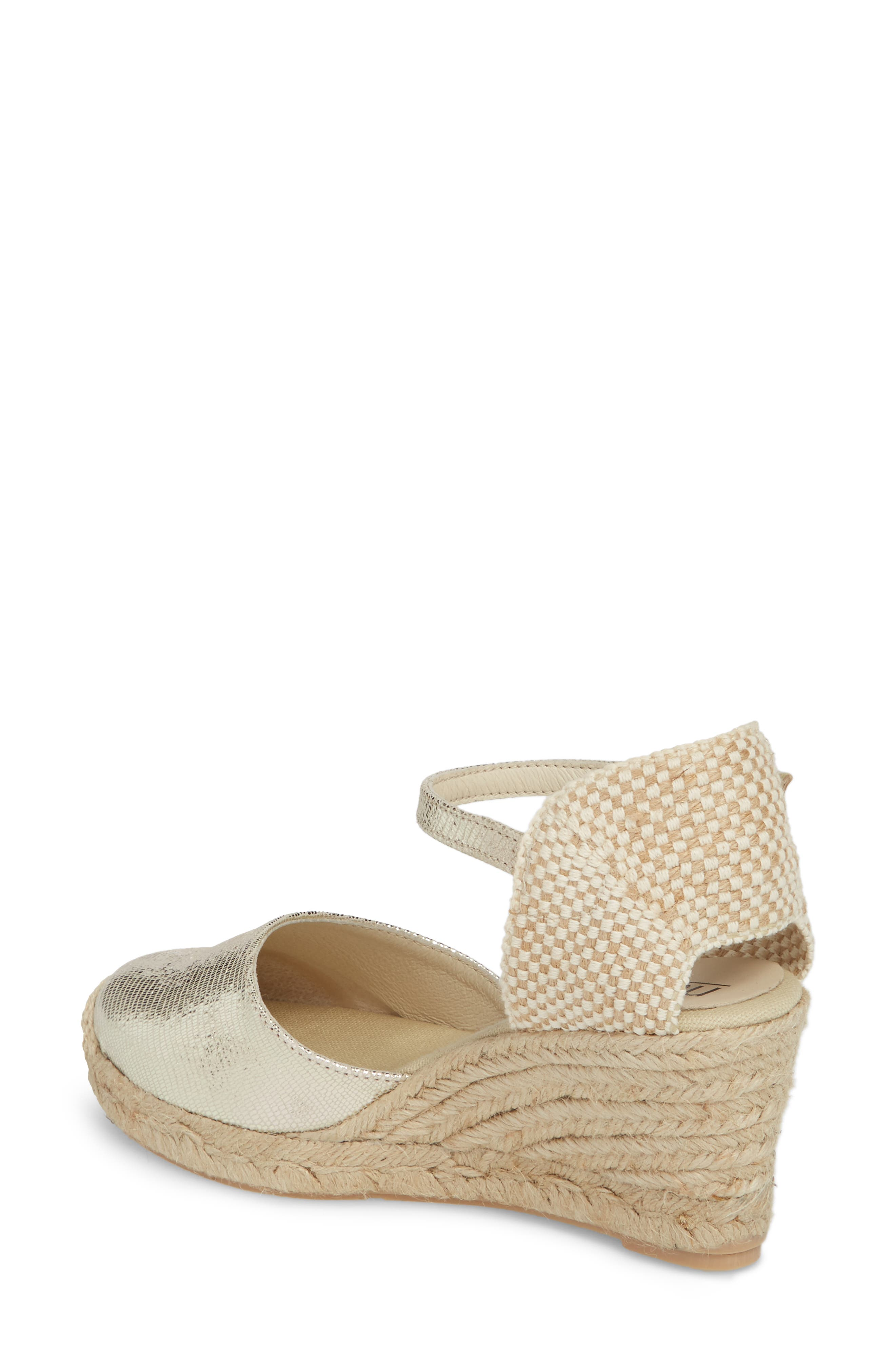 Europa Wedge Sandal,                             Alternate thumbnail 2, color,                             Gold Lizard Printed Leather
