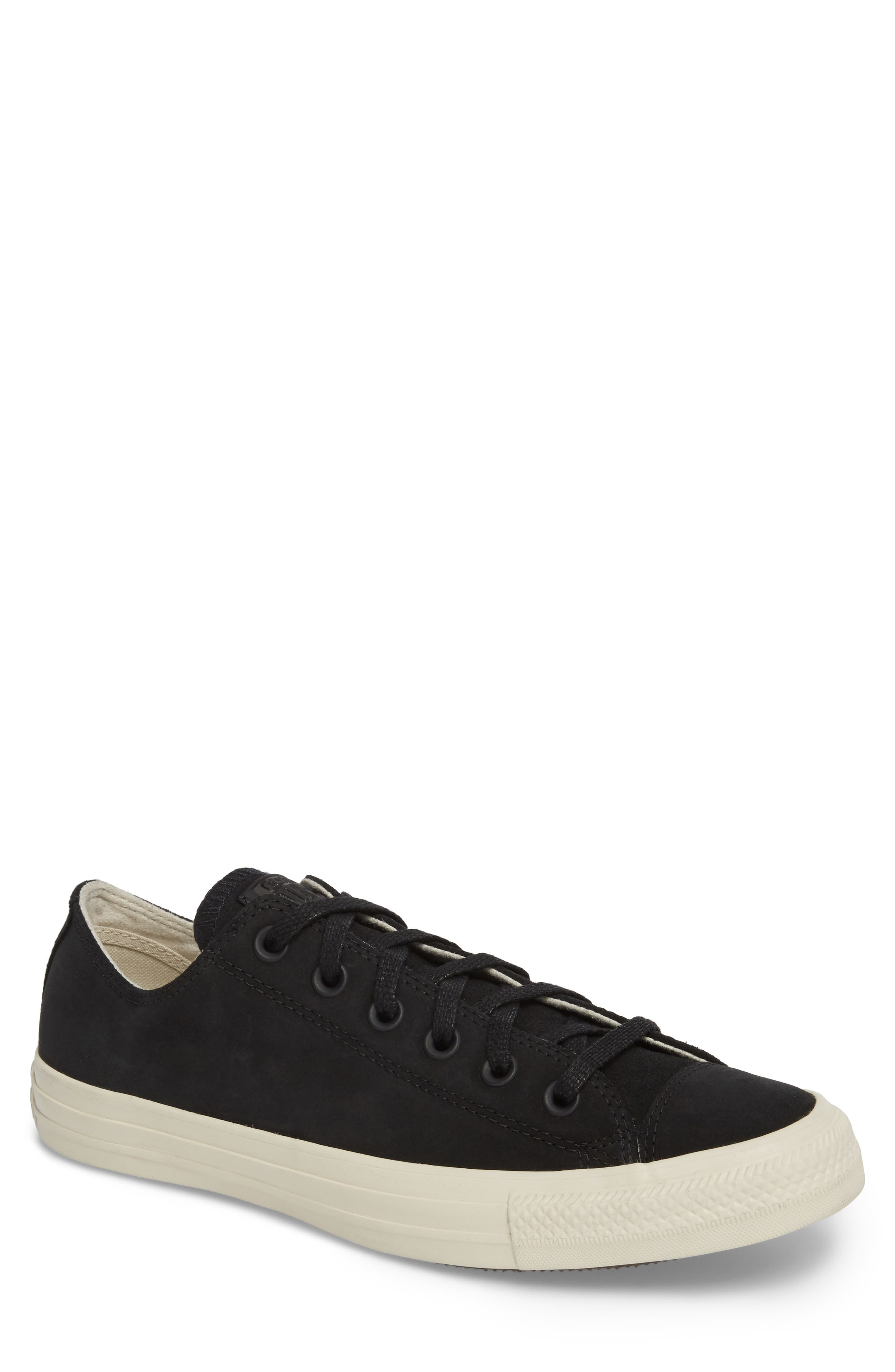 Chuck Taylor<sup>®</sup> All Star<sup>®</sup> Low Top Sneaker,                             Main thumbnail 1, color,                             Black Leather