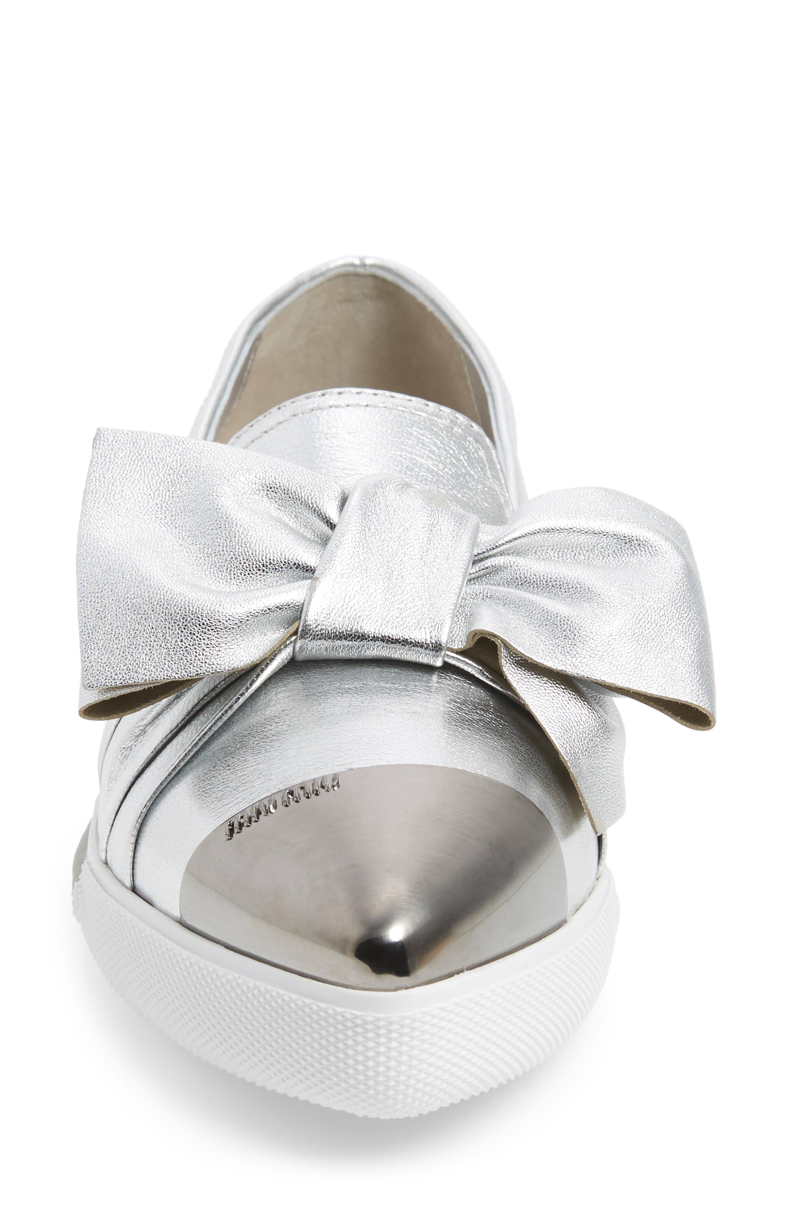 Cap Toe Hidden Wedge Sneaker,                             Alternate thumbnail 4, color,                             Silver